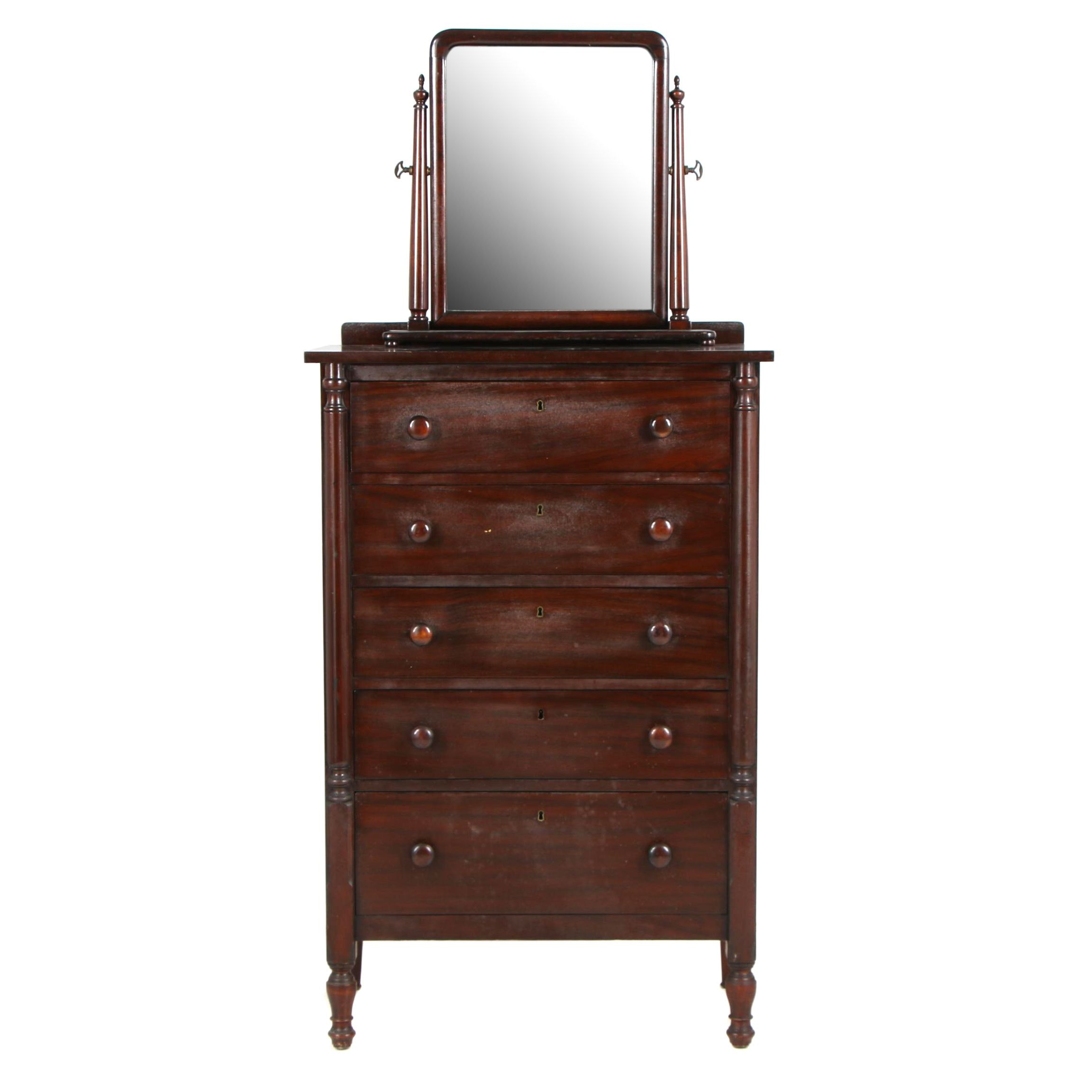 Colonial Revival Style Chest of Drawers with Mirror, Late 19th Century