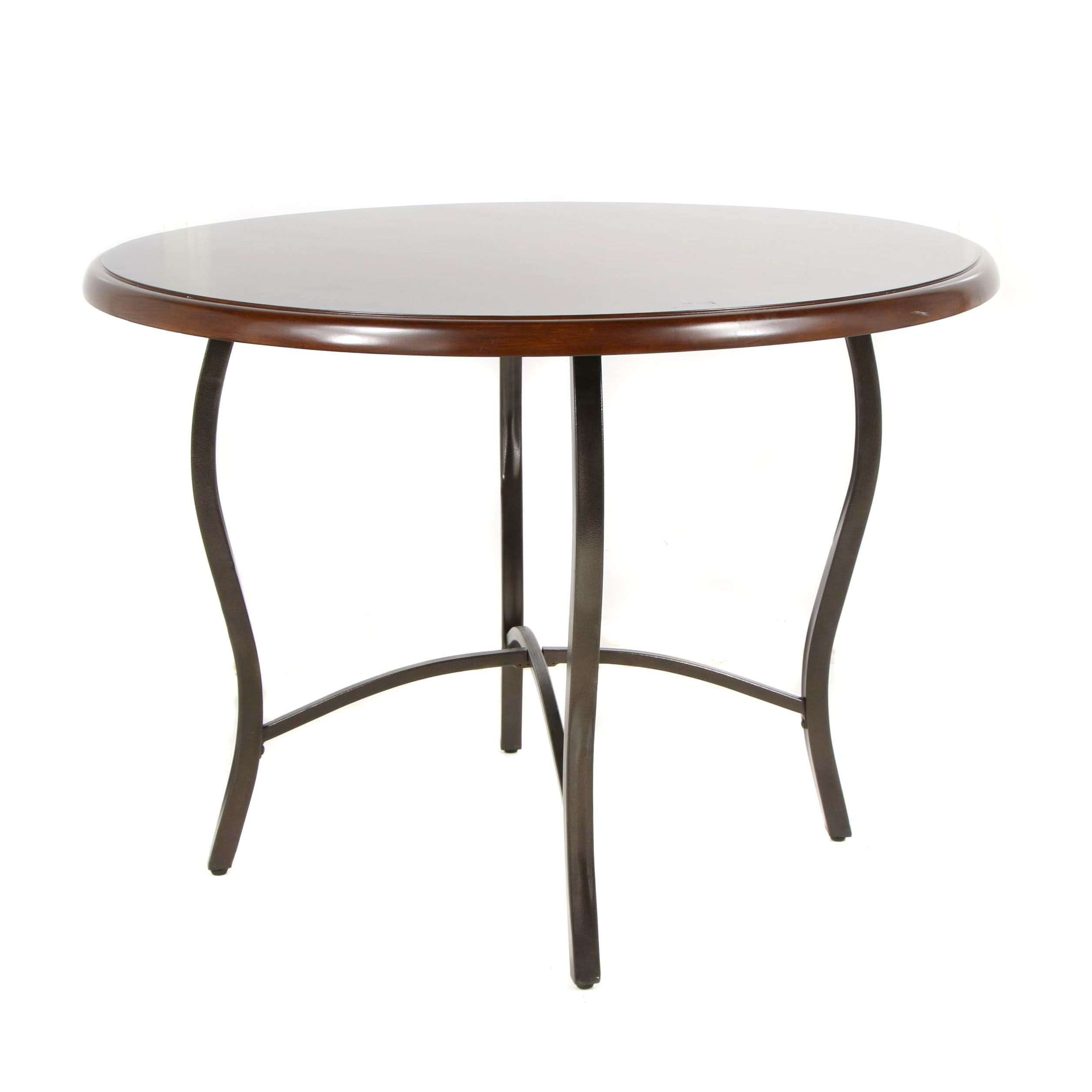 Round Wooden Table with Metal Legs