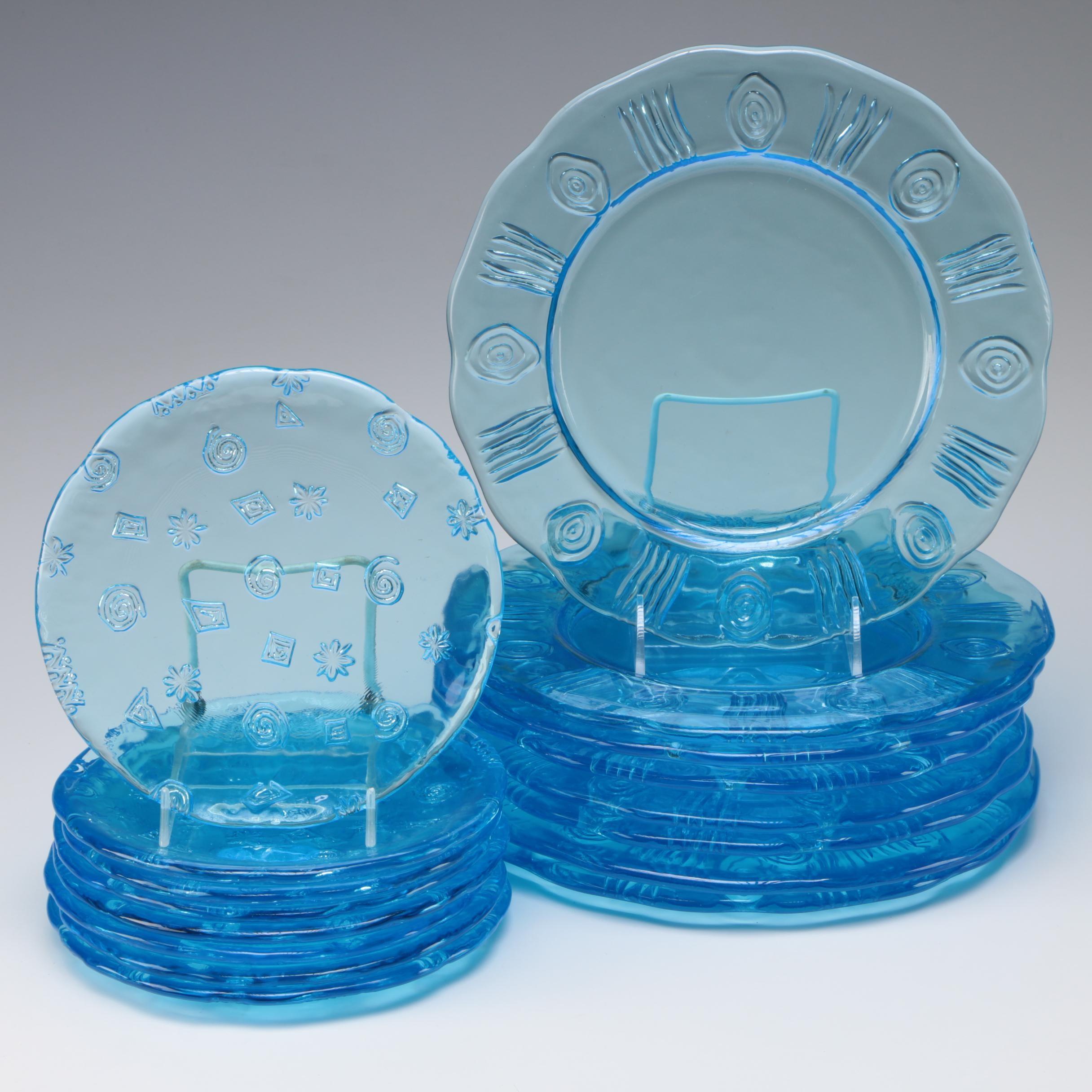 Contemporary Blue Glass Plates