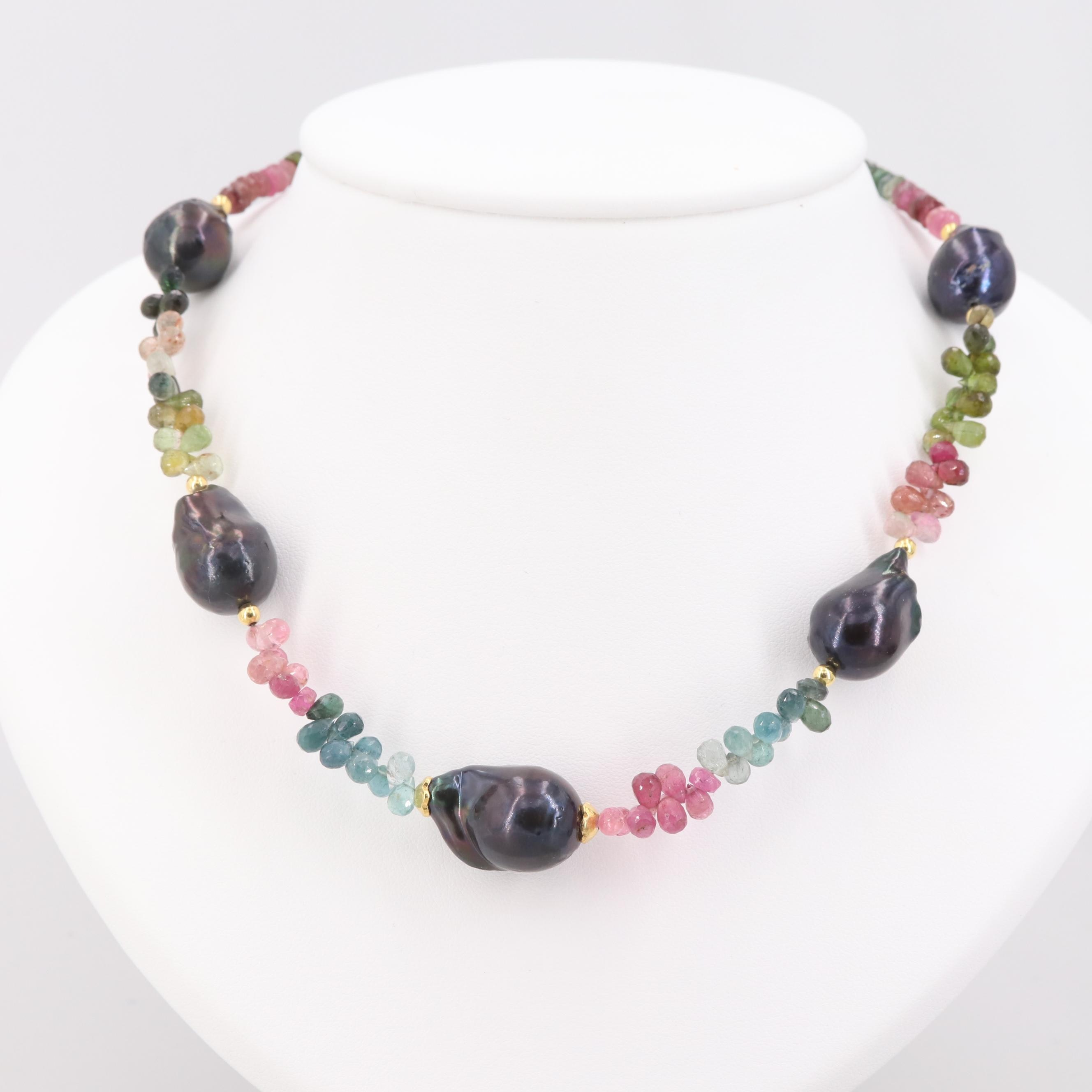 Gold Wash on Sterling Silver Tourmaline and Cultured Pearl Necklace