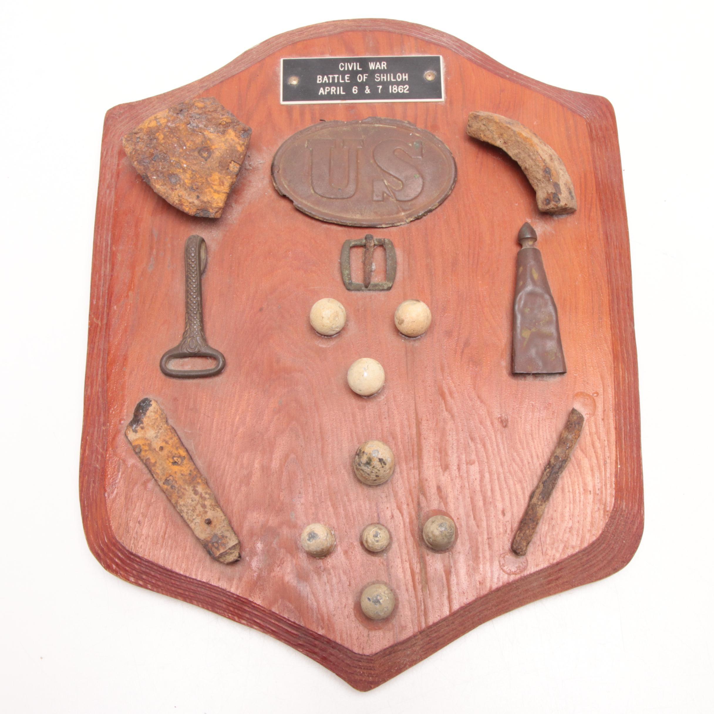 Dated 1862 Battle of Shiloh Civil War Battlefield Relics Shield Plaque