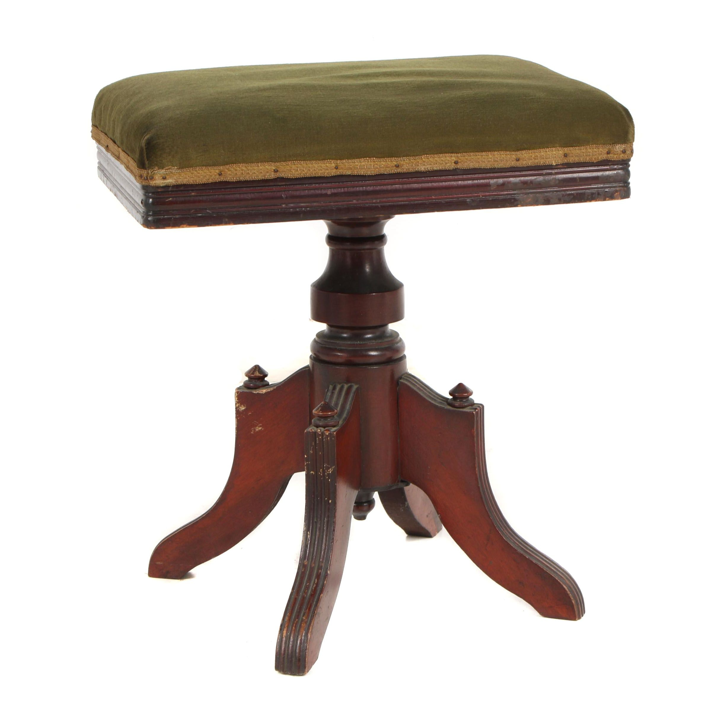 Victorian Walnut Upholstered Stool with Nailhead Trim, Circa 1890