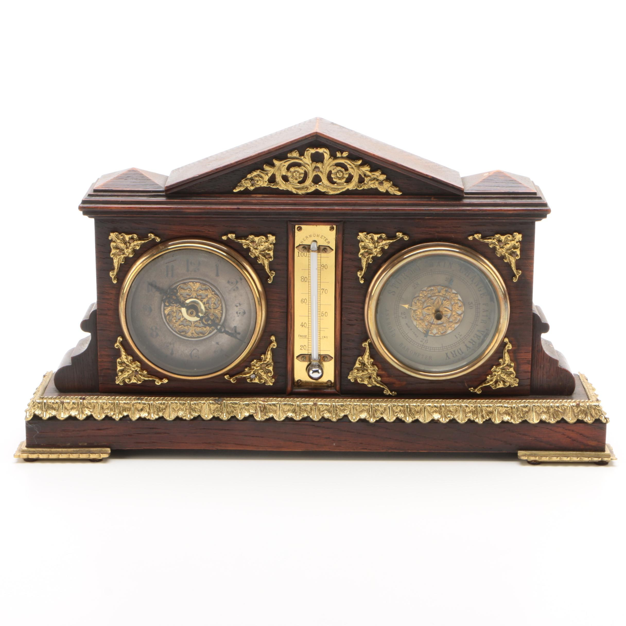 Oak Case Shelf Clock with Mercury Thermometer and Barometer, Late 19th Century