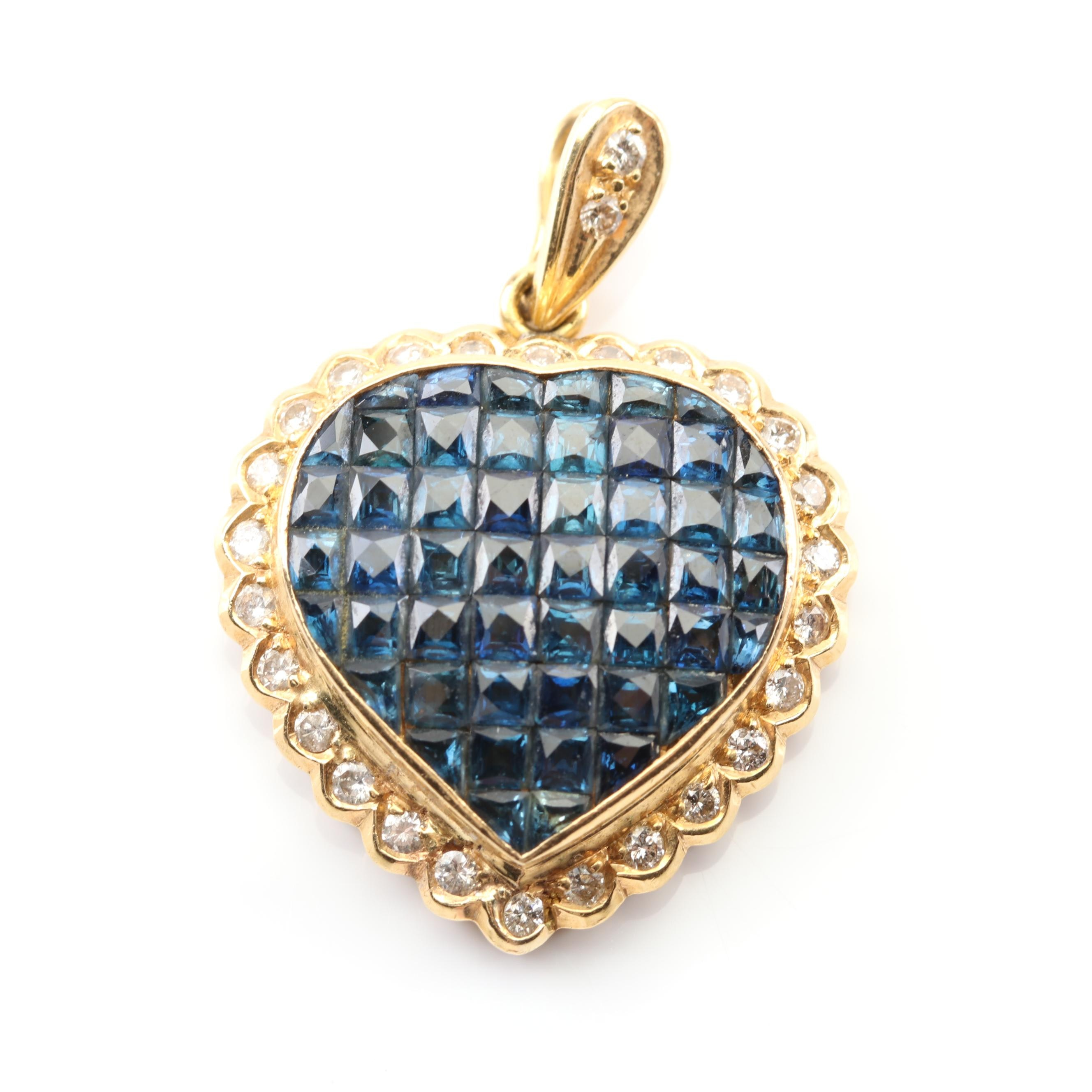 18K Yellow Gold Sapphire and Diamond Framed Heart Pendant