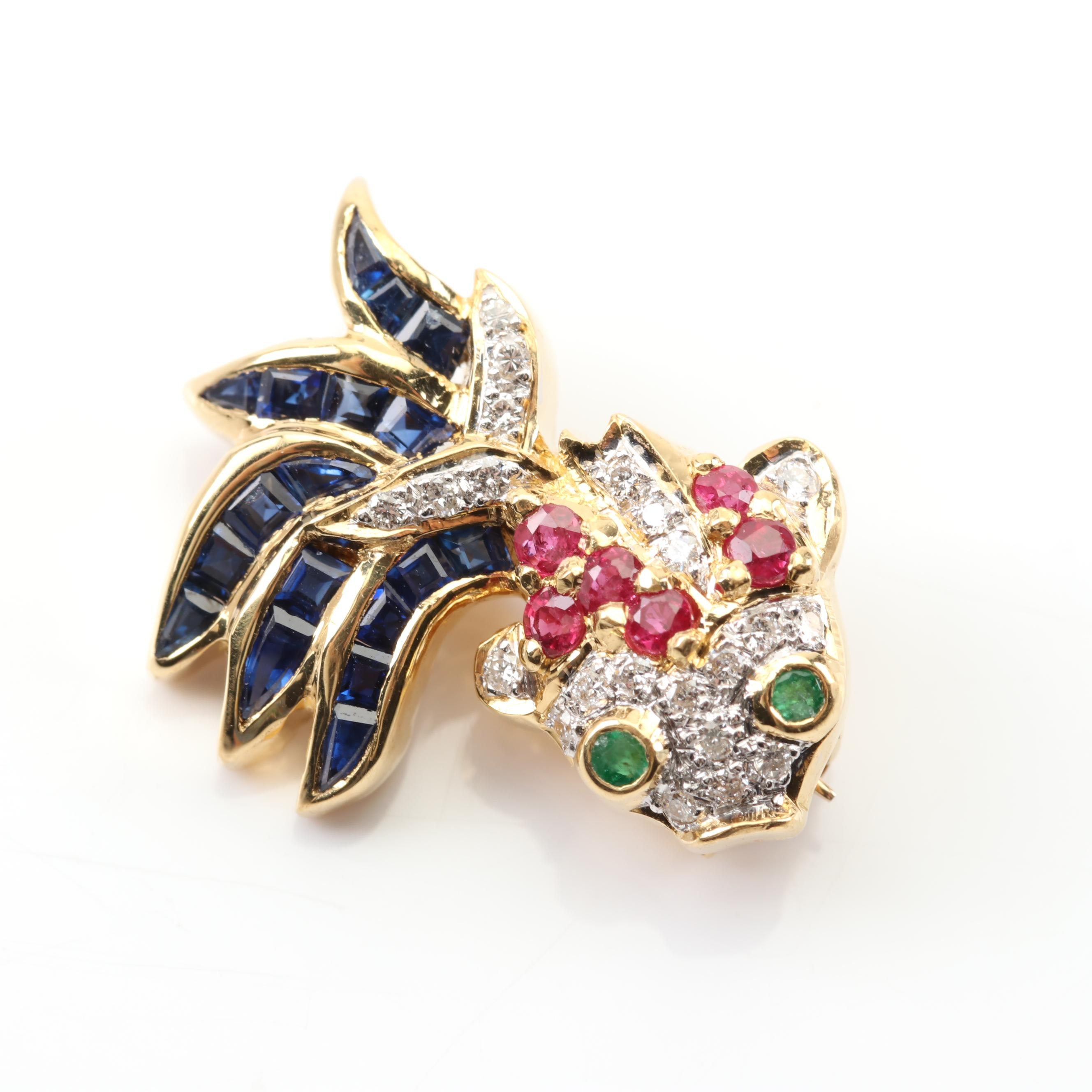 18K Yellow Gold Diamond, Sapphire, Ruby and Emerald Fish Brooch