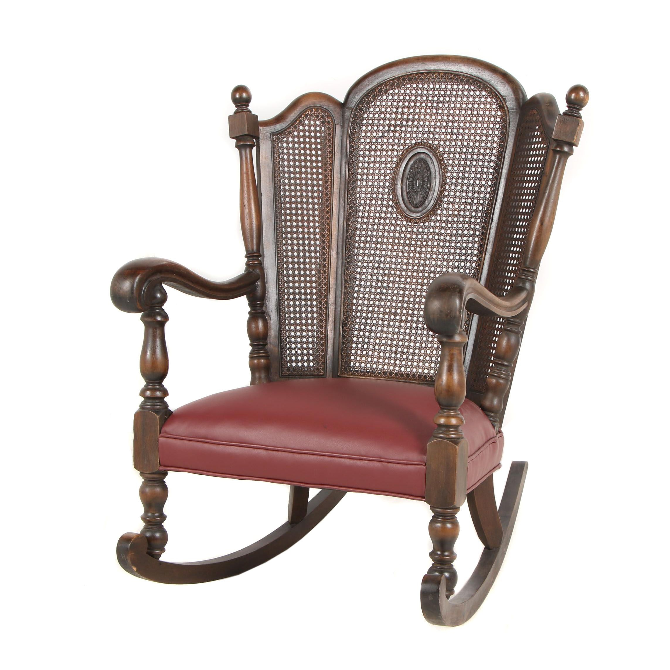 Wooden Cane Back Rocking Chair