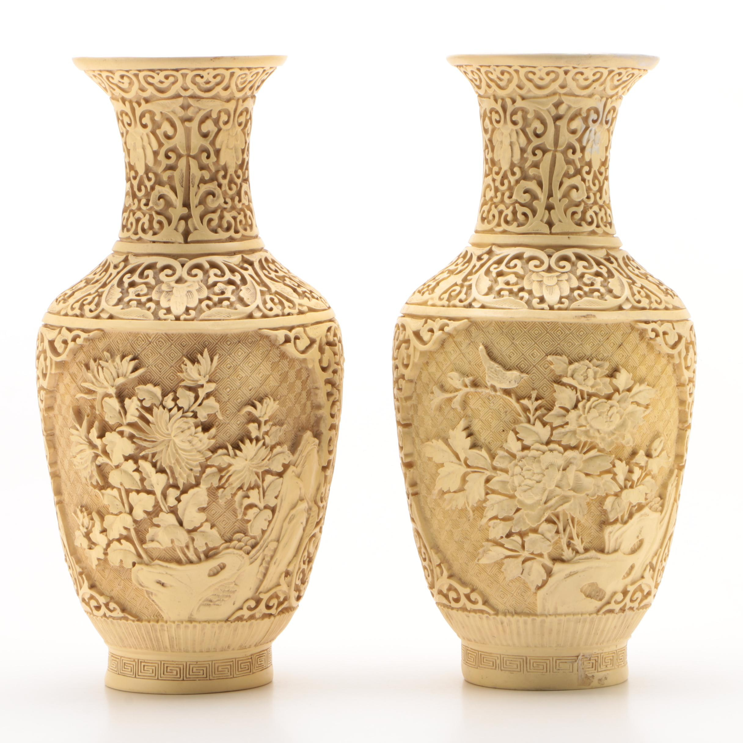 Chinese Carved Ivory Resin Vases, Mid Century
