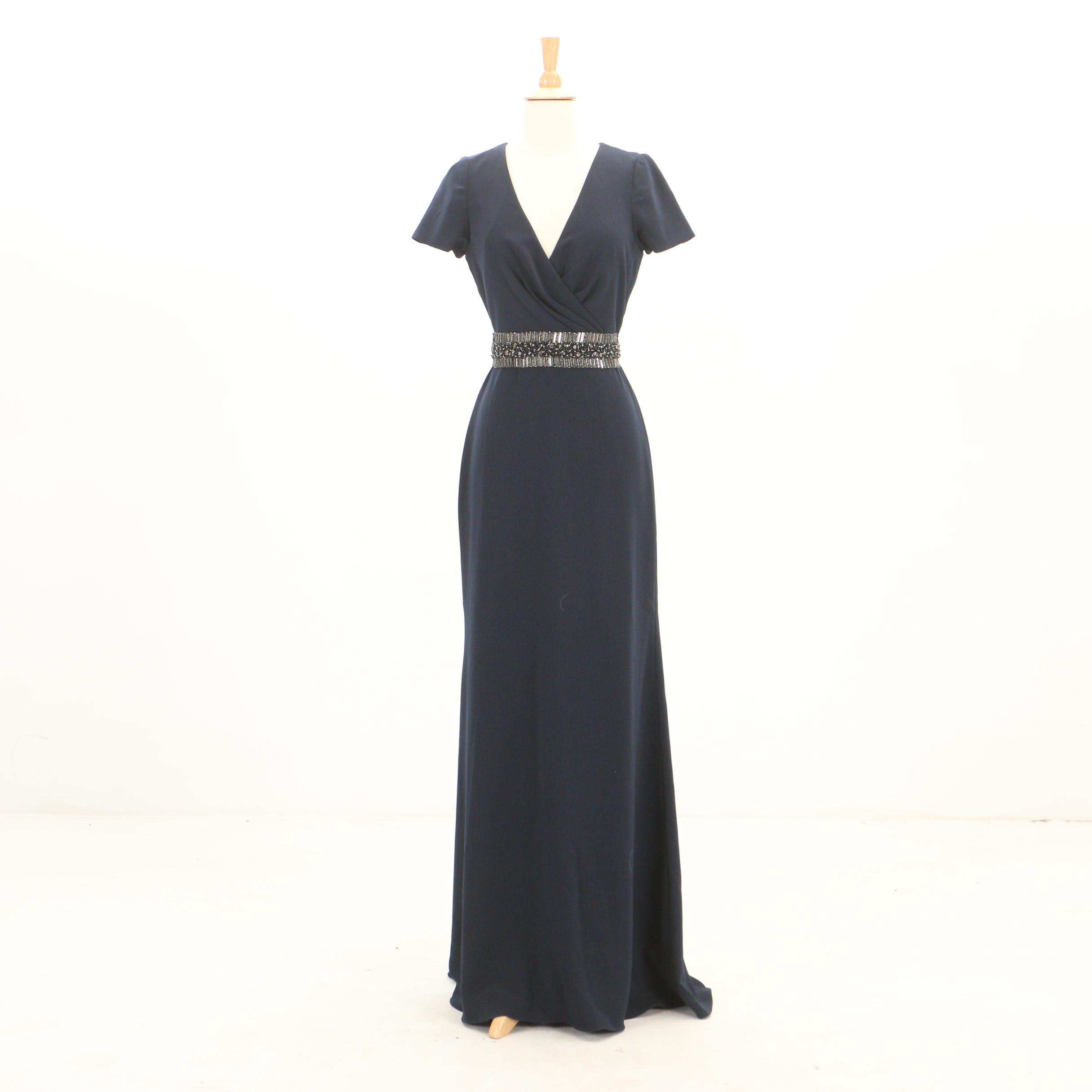 Badgley Mischka Collection Navy Blue V-Cut Evening Gown with Beaded Waist