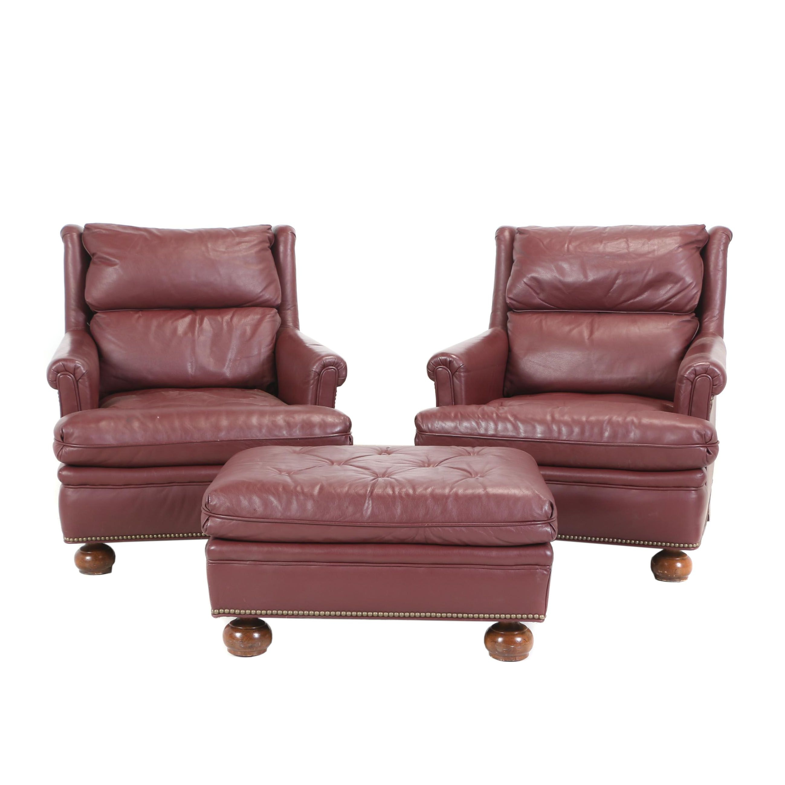 Pair of Henredon Burgundy Leather Armchairs with Ottoman, Late 20th Century