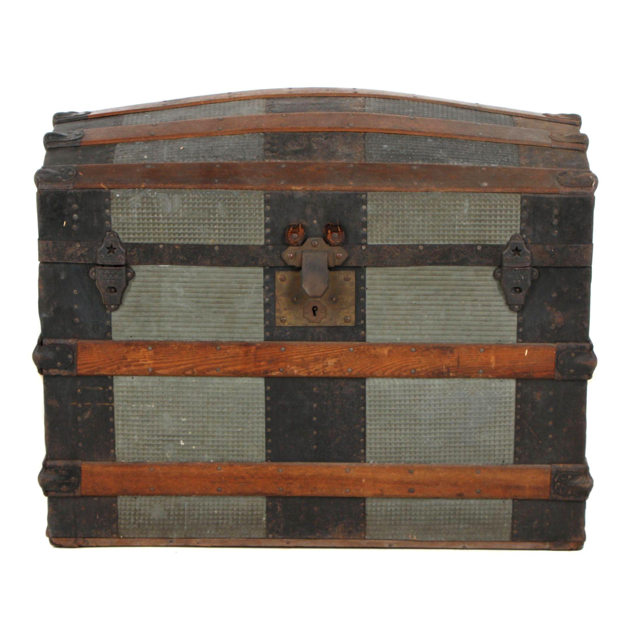 Antique Barrel Top Steamer Trunk