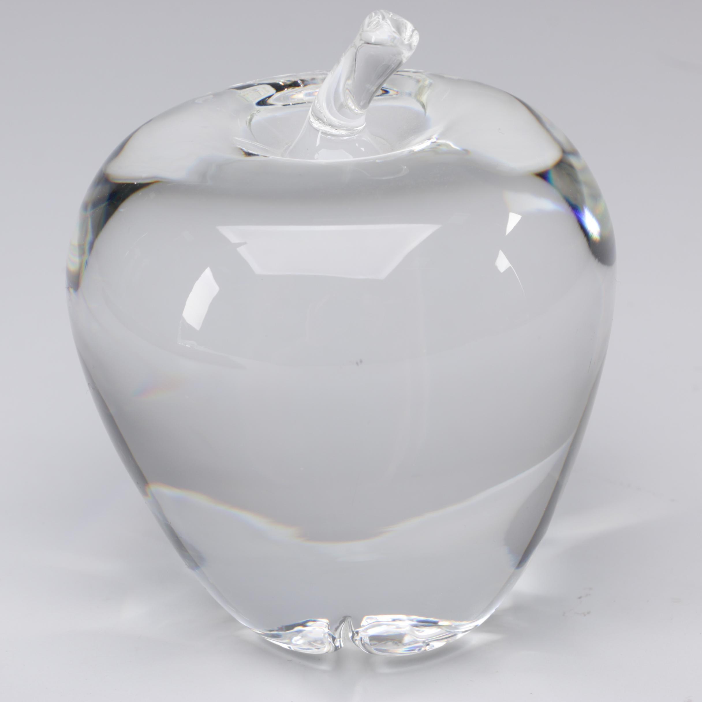 """Steuben Art Glass """"Apple"""" Figurine Designed by Jeanne Leach, 1949"""