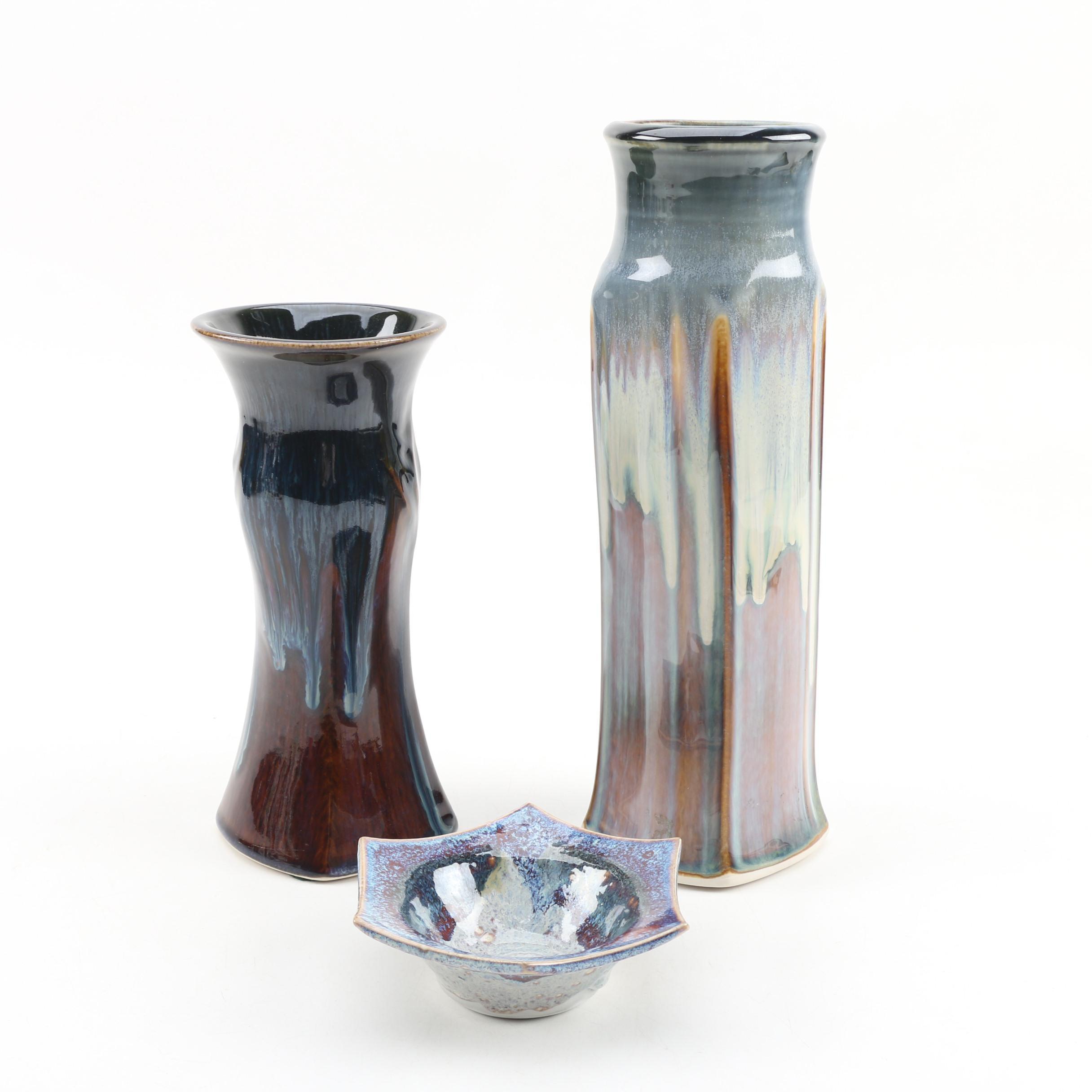 Thrown Mayhew Beersheba Porcelain Bowl with Drip Glazed Porcelain Vases