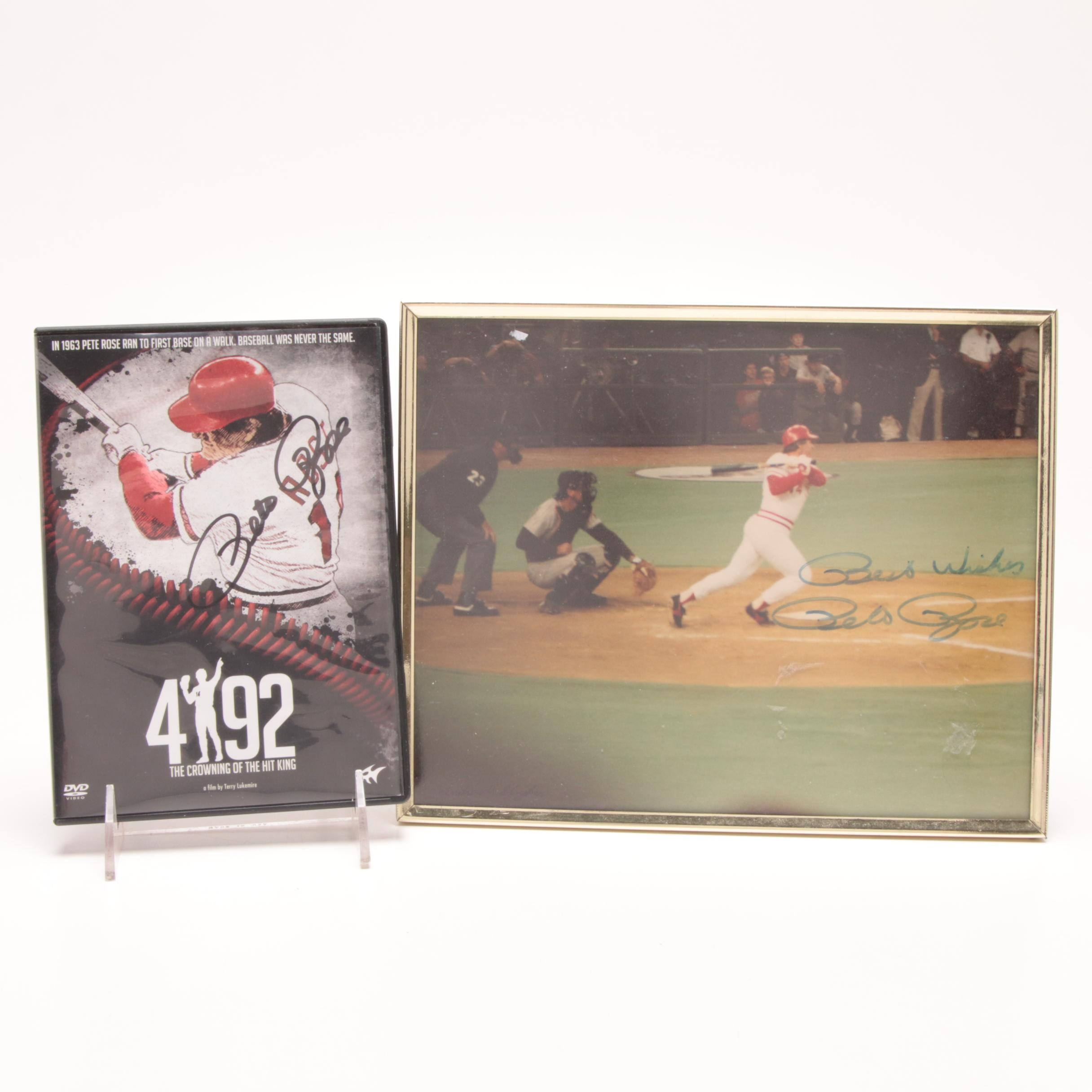 """Pete Rose Autographed Photo  and """"4192: The Crowning of the Hit King"""" DVD"""