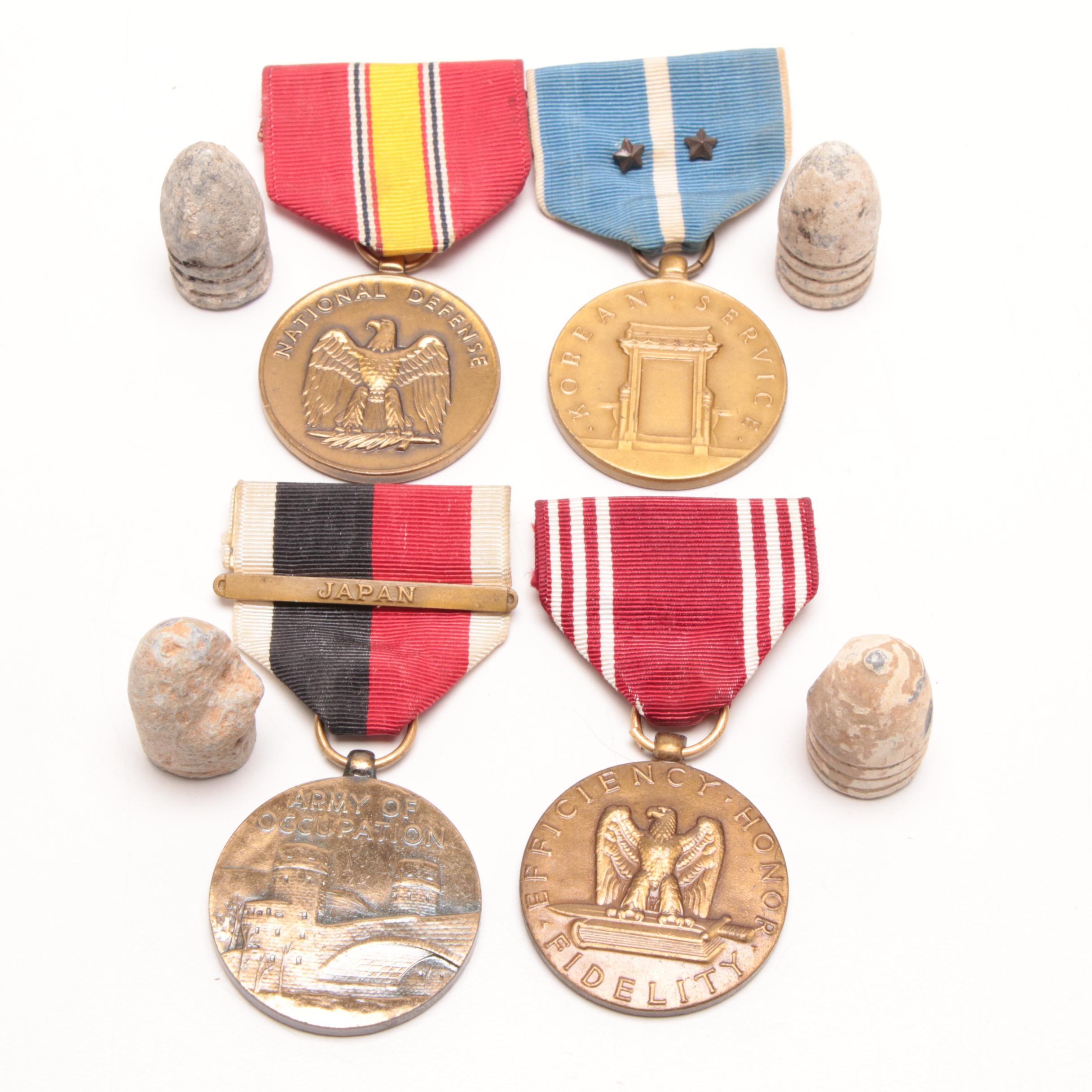 "WWII-Korean War United States Service Medals and Civil War Era ""Dug"" Bullets"