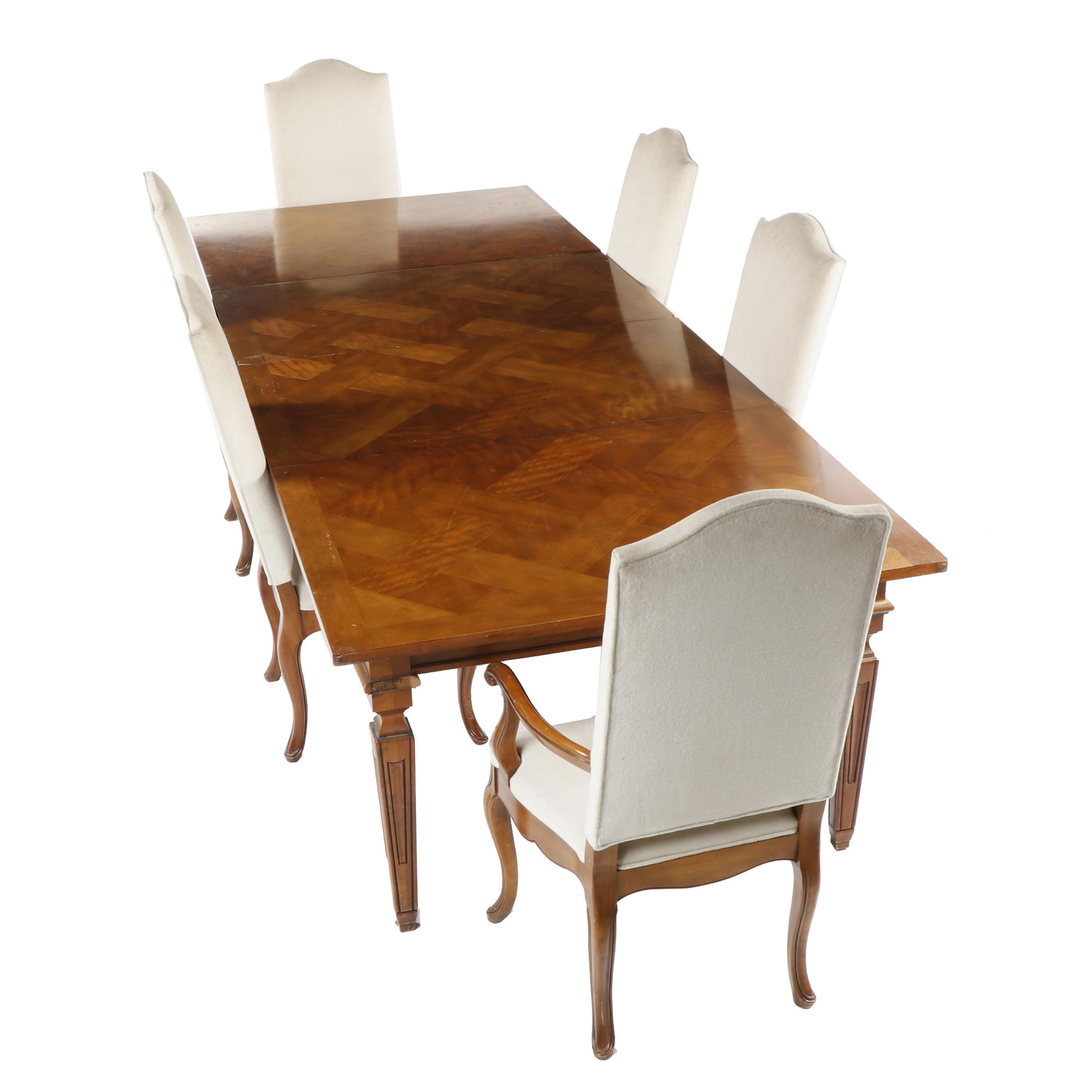 Baker Dining Table with Herringbone Maple Parquetry and Upholstered Chairs