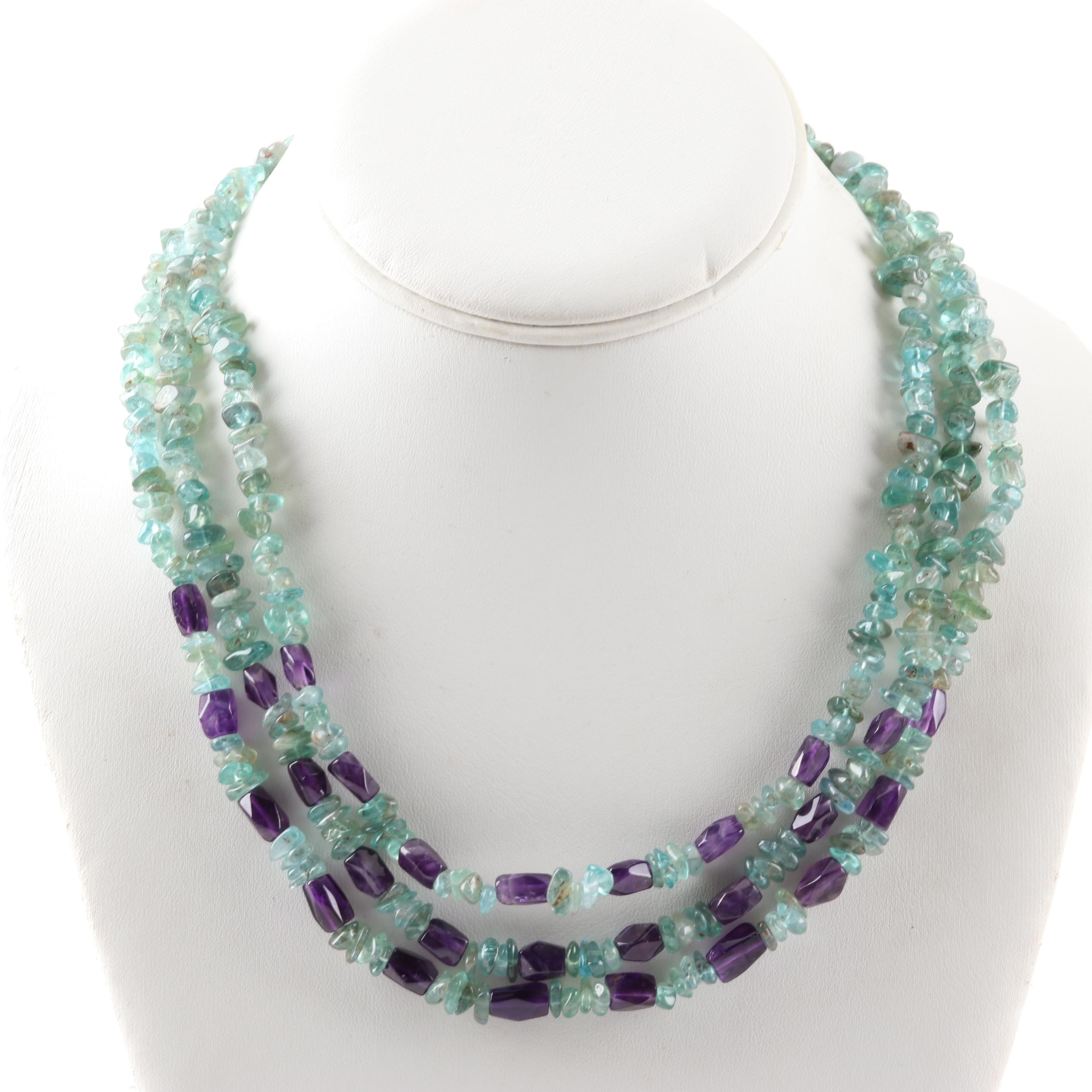 Sterling Silver Three Strand Aquamarine and Amethyst Bead Necklace