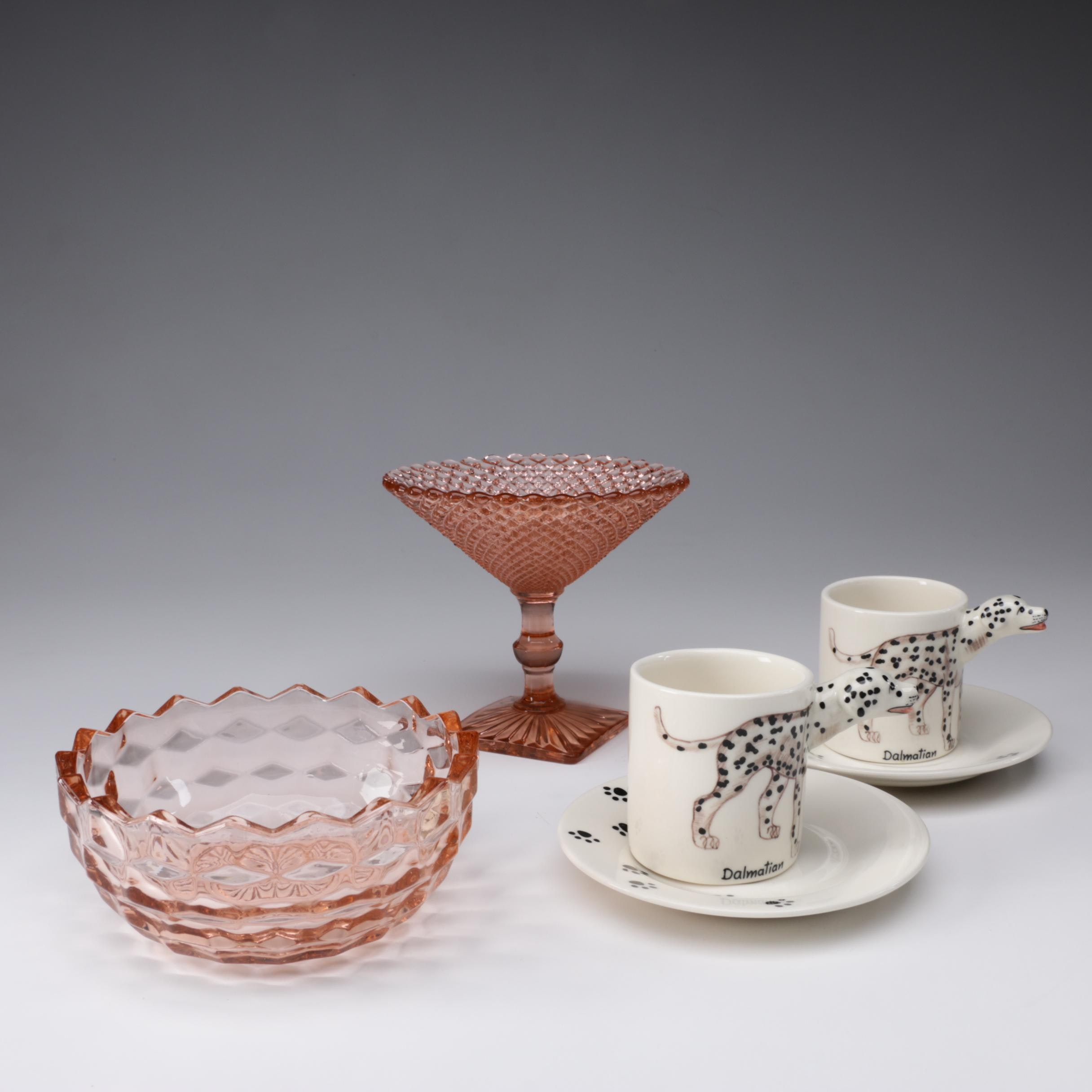 """Meelarp Hand-Painted Ceramic """"Dalmatian"""" Cups with Pink Depression Glass"""