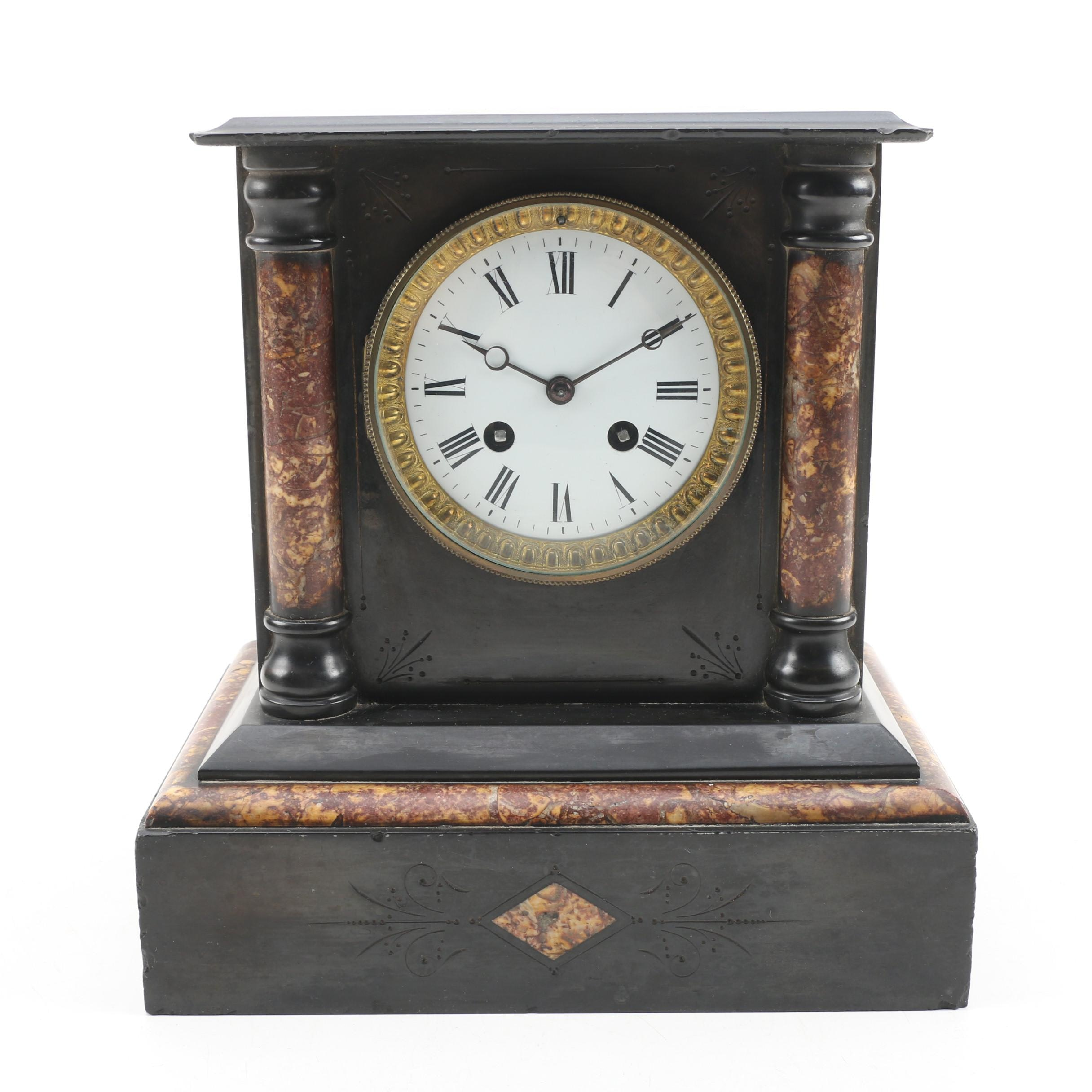 French Black Slate and Marble Mantel Clock, Late 19th/Early 20th Century