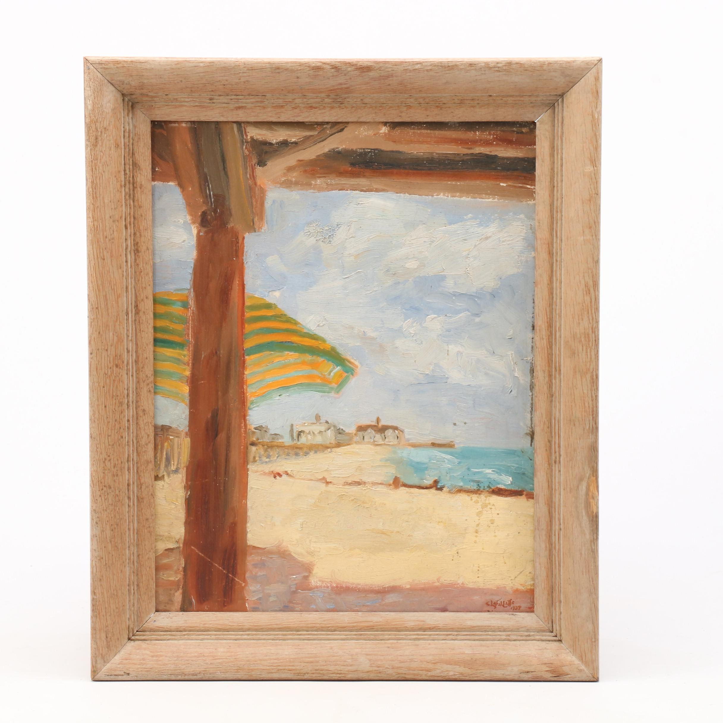 C. Lafayette 1939 Oil Painting of Beach Scene