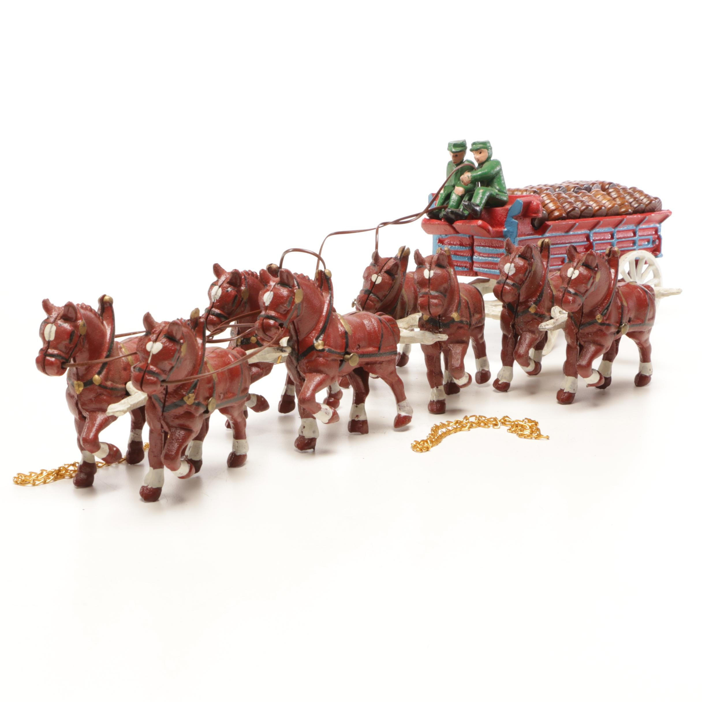 Contemporary Cast Iron Horse Drawn Wagon Child's Toy