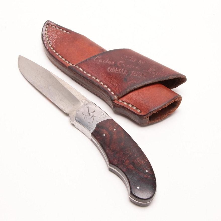 df3ebf8b85545 1960s Cactus Custom Hunting Knife with Leather Sheath, Odessa, Texas ...