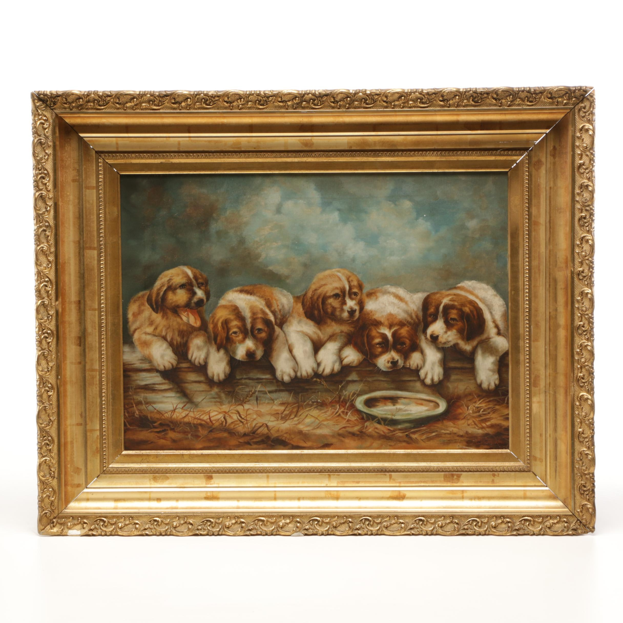 C. Karrington Oil Painting of Five Puppies