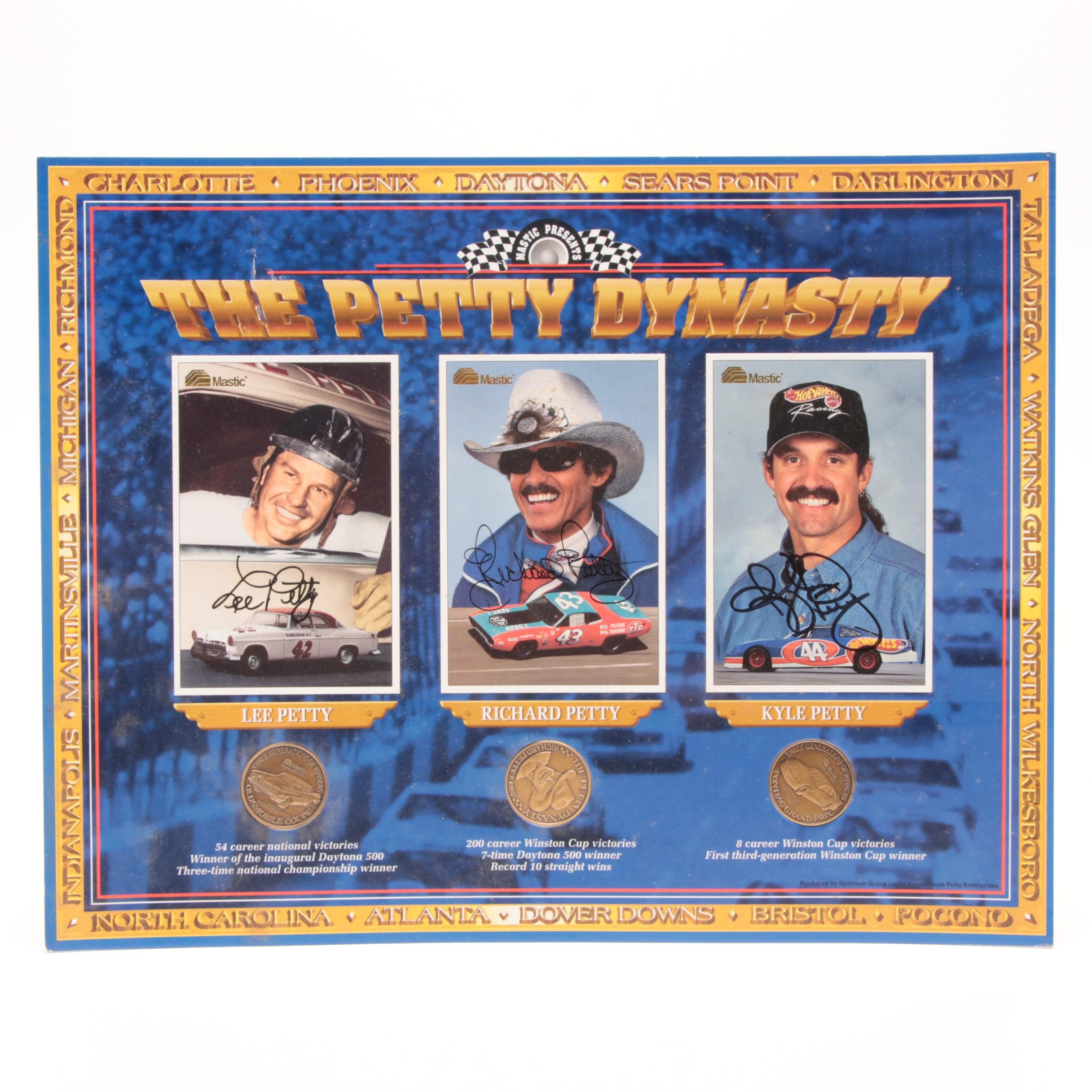 The Petty Dynasty Signed Auto Racing Display with Daytona and Winston Cup Medals