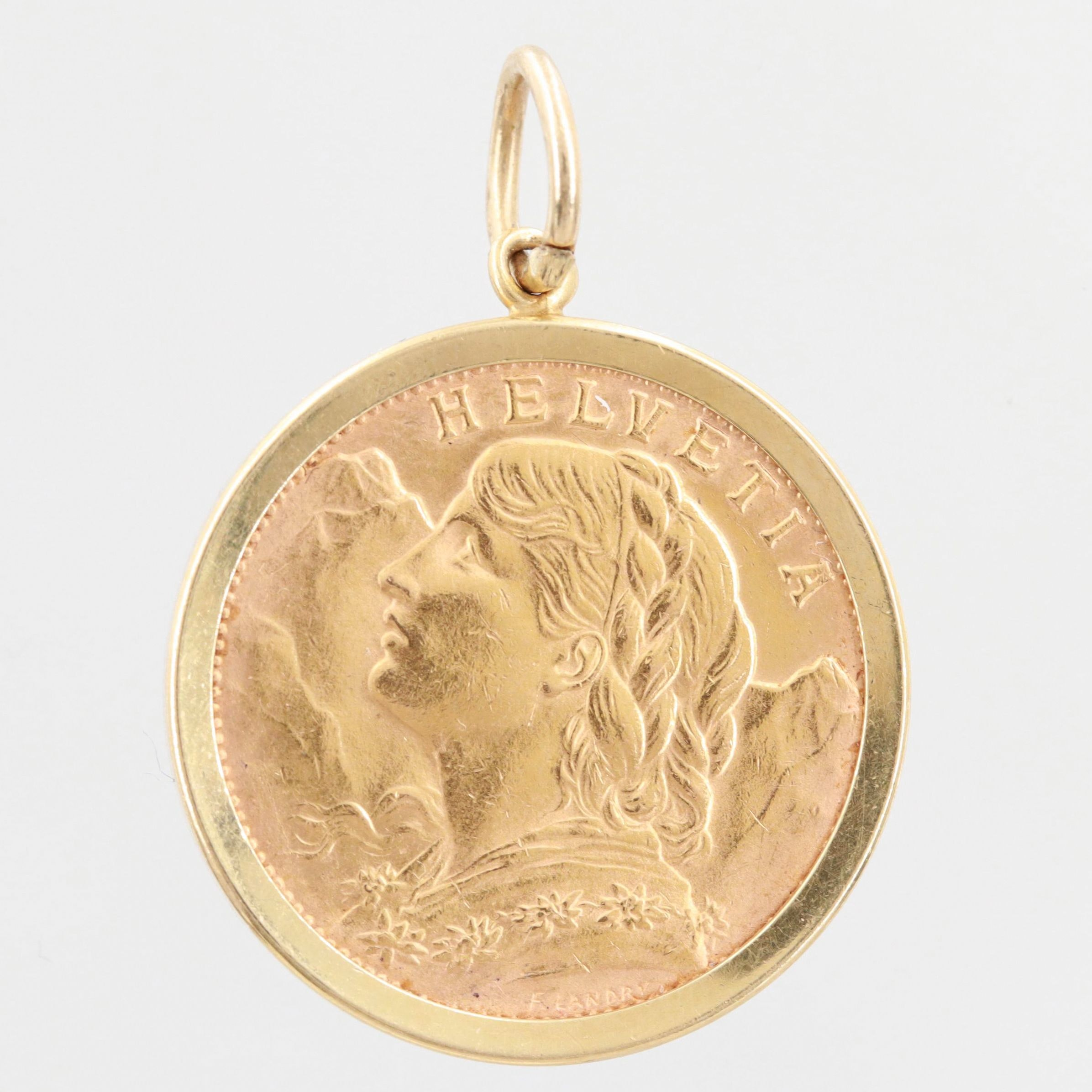 18K Yellow Gold Pendant with 1927 Swiss 20 Francs Gold Coin