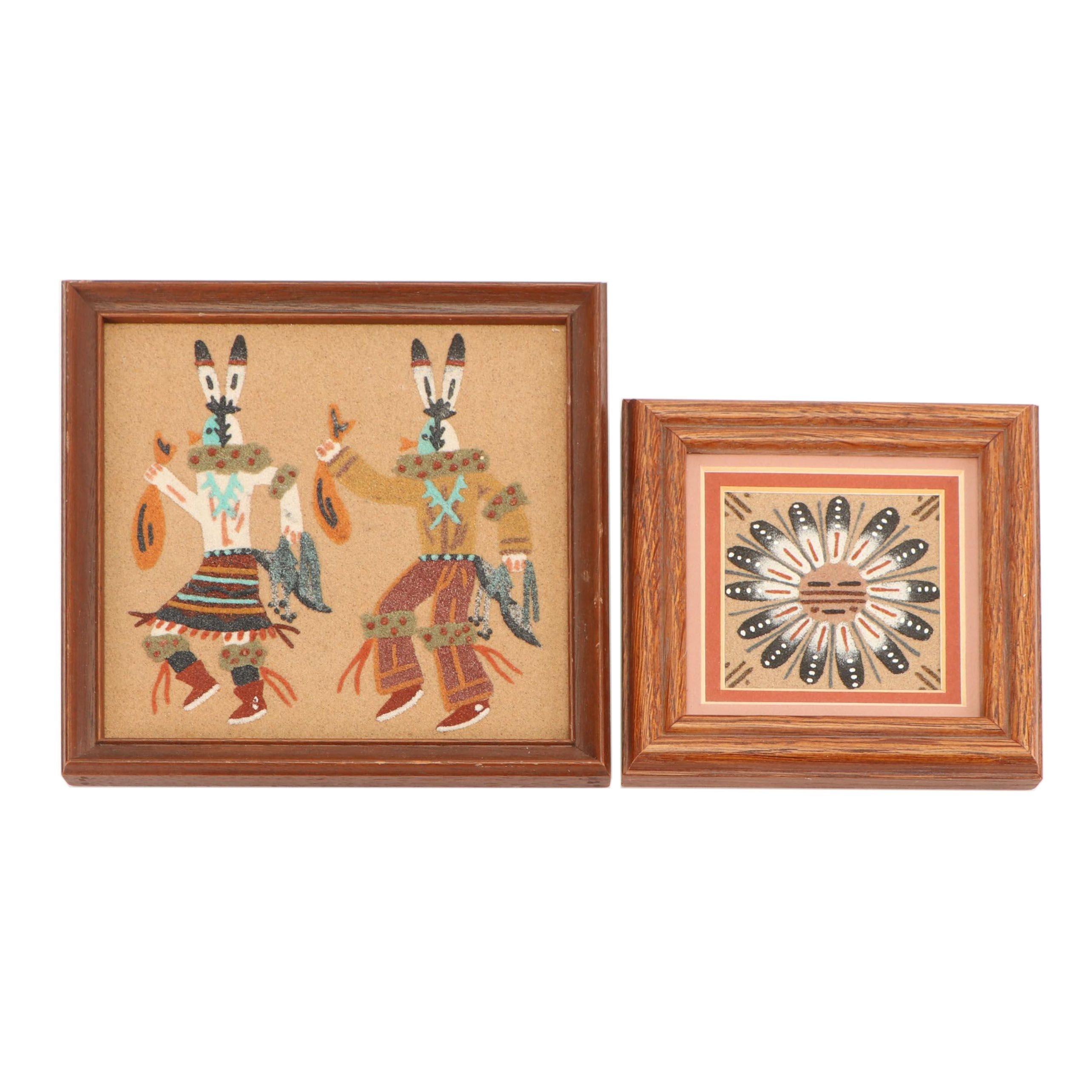 Framed Pair of Navajo Sand-paintings