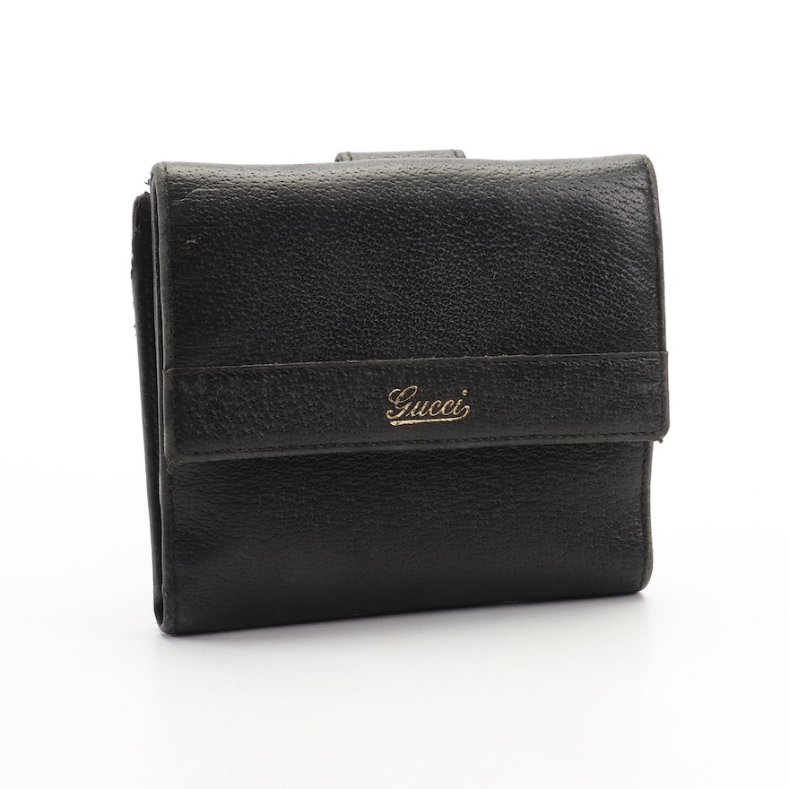 00ca9bf733d456 Gucci Black Leather and Canvas Bifold Wallet, Vintage : EBTH