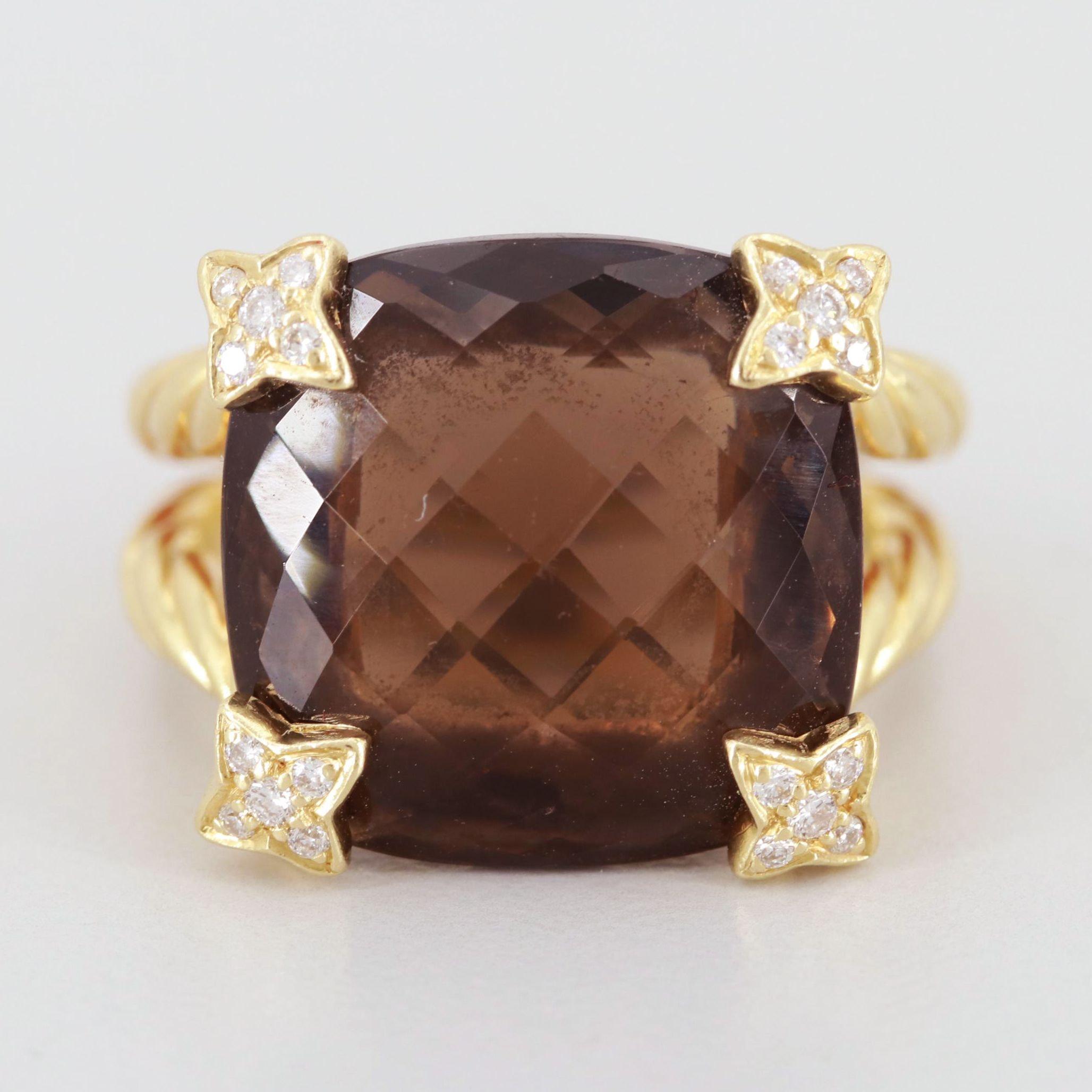 "David Yurman ""Chatelaine"" 18K Yellow Gold Smoky Quartz and Diamond Ring"
