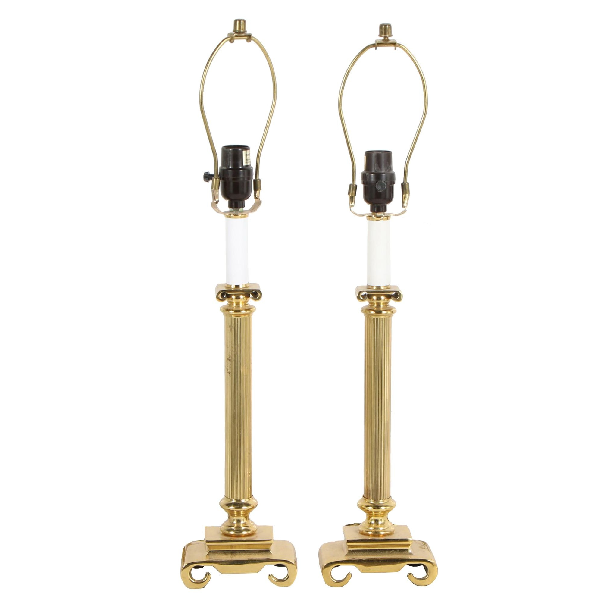 Ionic Column Brass Table Lamps, Late 20th Century