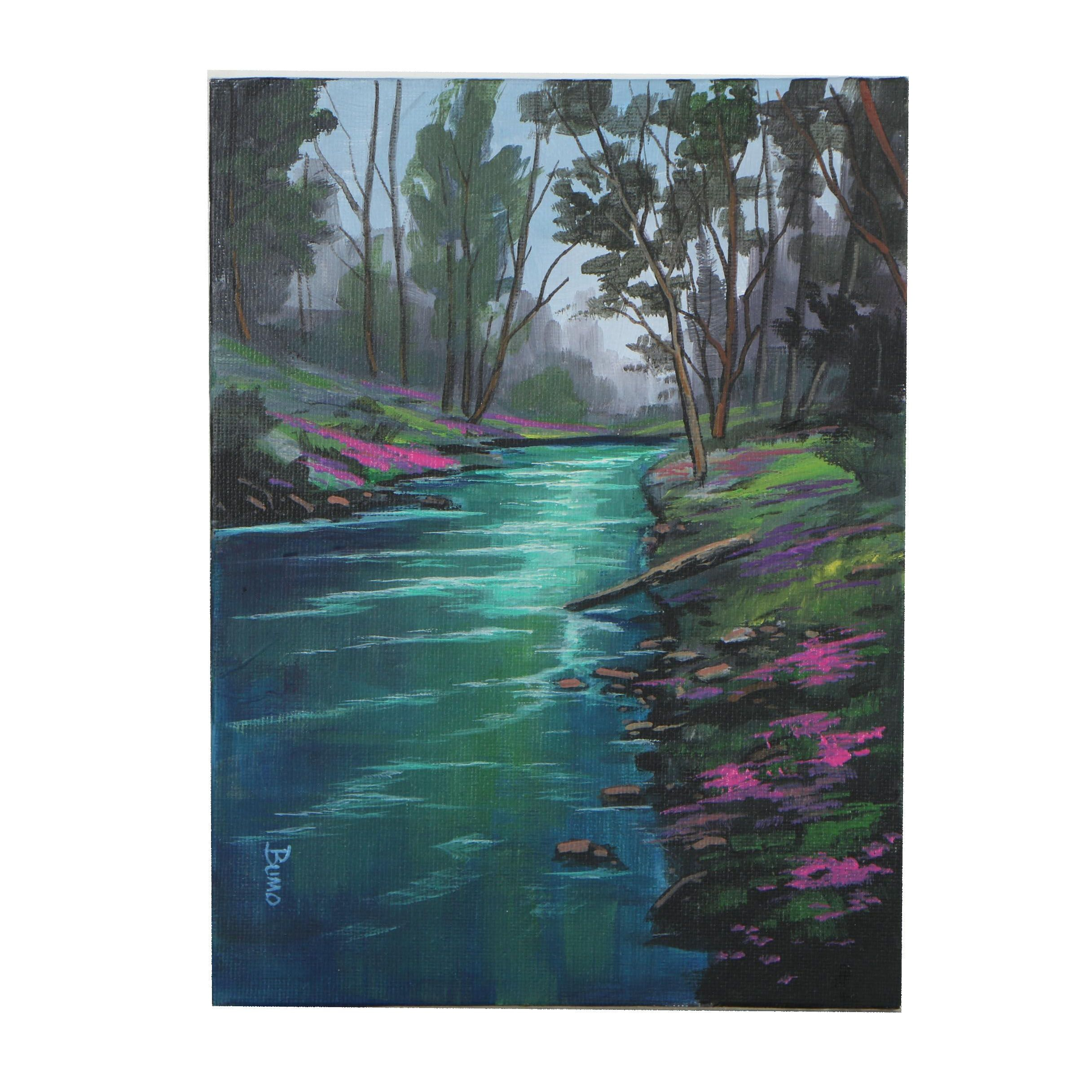 "Douglas ""Bumo"" Johnpeer Oil Painting ""Rivers Edge"""