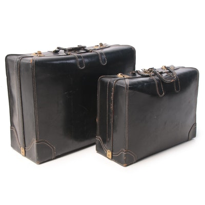 Lee's Wear Corp. Black Leather Suitcases, Mid-20th Century