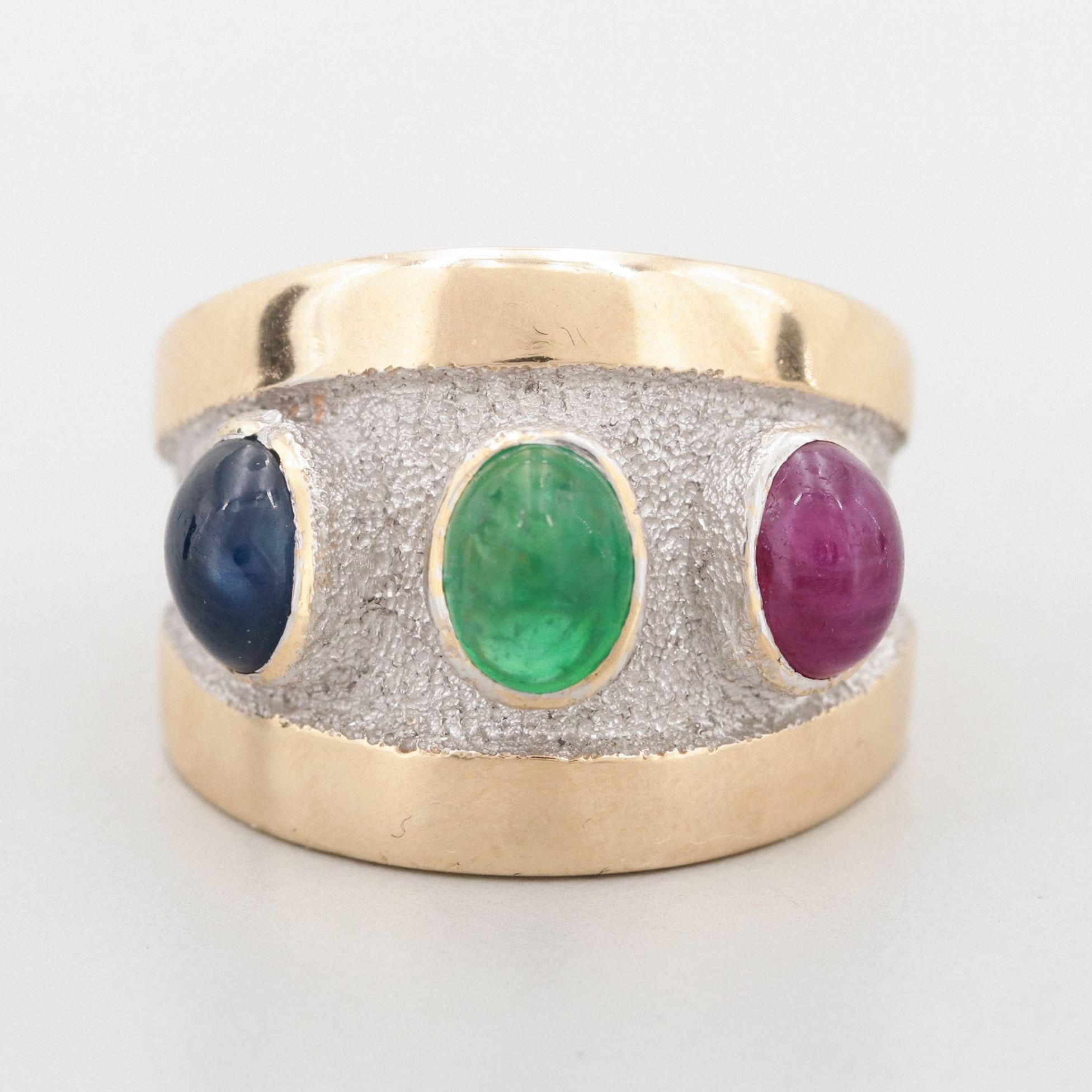 Bellarri 14K Yellow Gold Emerald, Ruby and Sapphire Ring