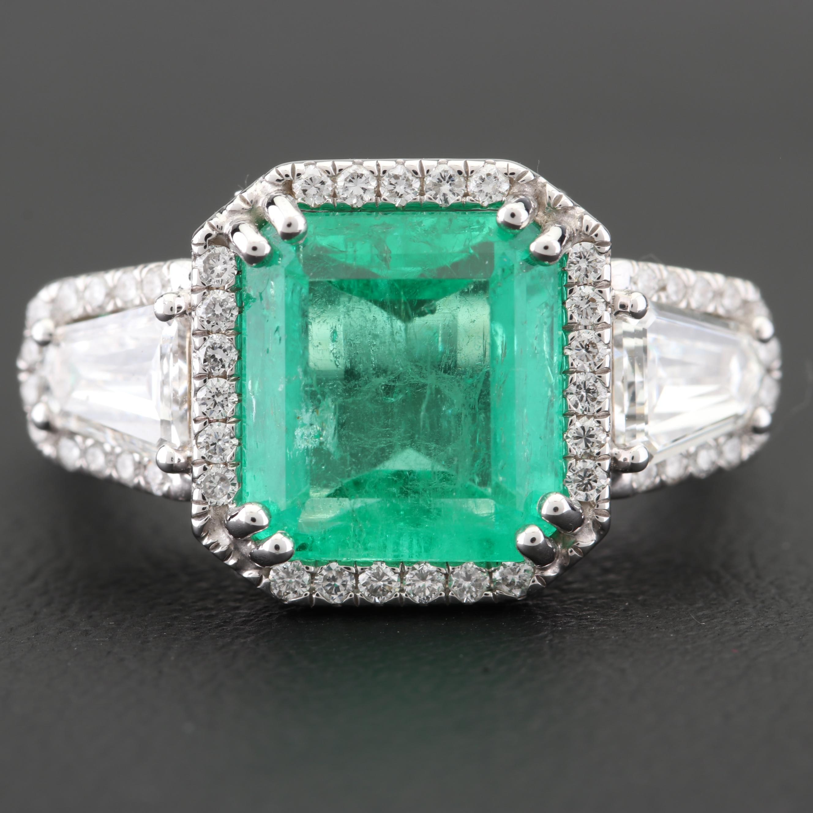18K White Gold 3.70 CT Emerald and 1.40 CTW Diamond Ring