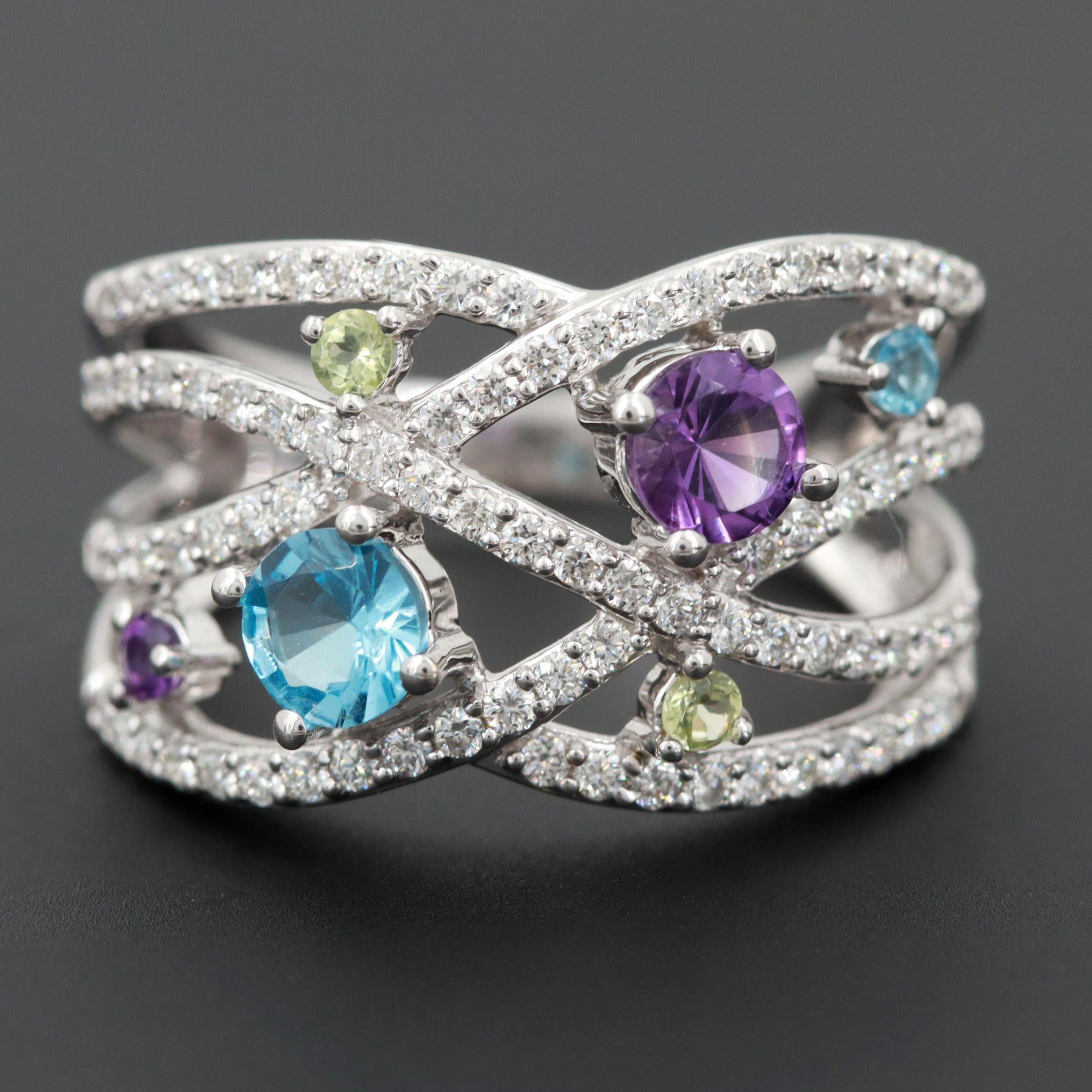 14K White Gold Amethyst, Blue Topaz, Peridot and Diamond Ring
