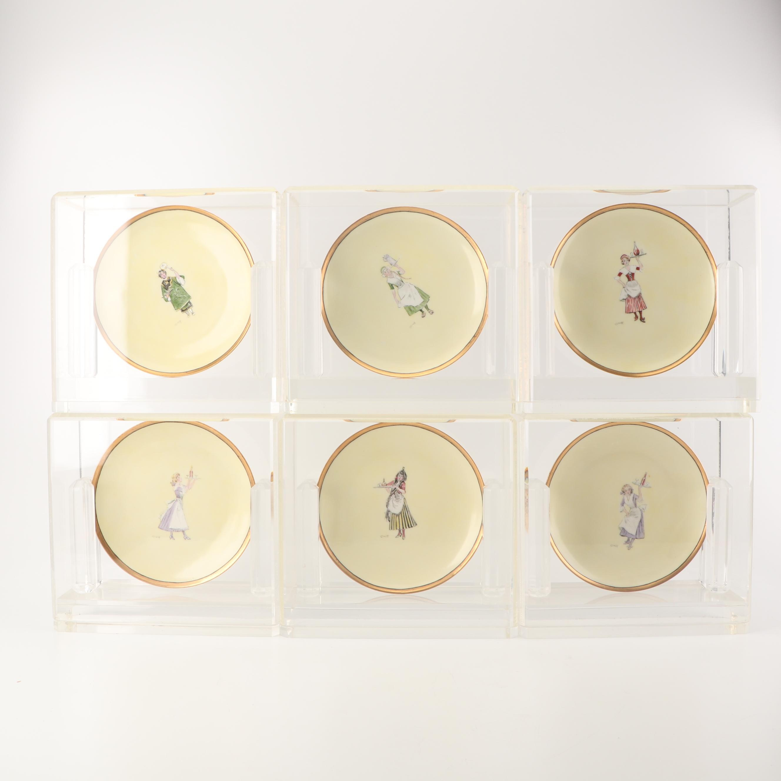 Haviland Limoges Hobbyist Painted Porcelain Plates in Display Cases