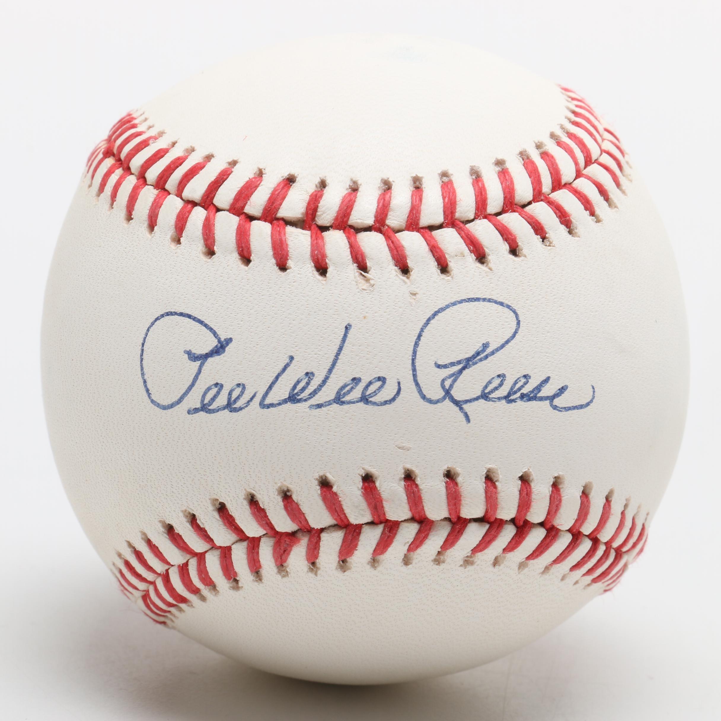 (HOF) Pee Wee Reese Signed Rawlings National League Baseball COA