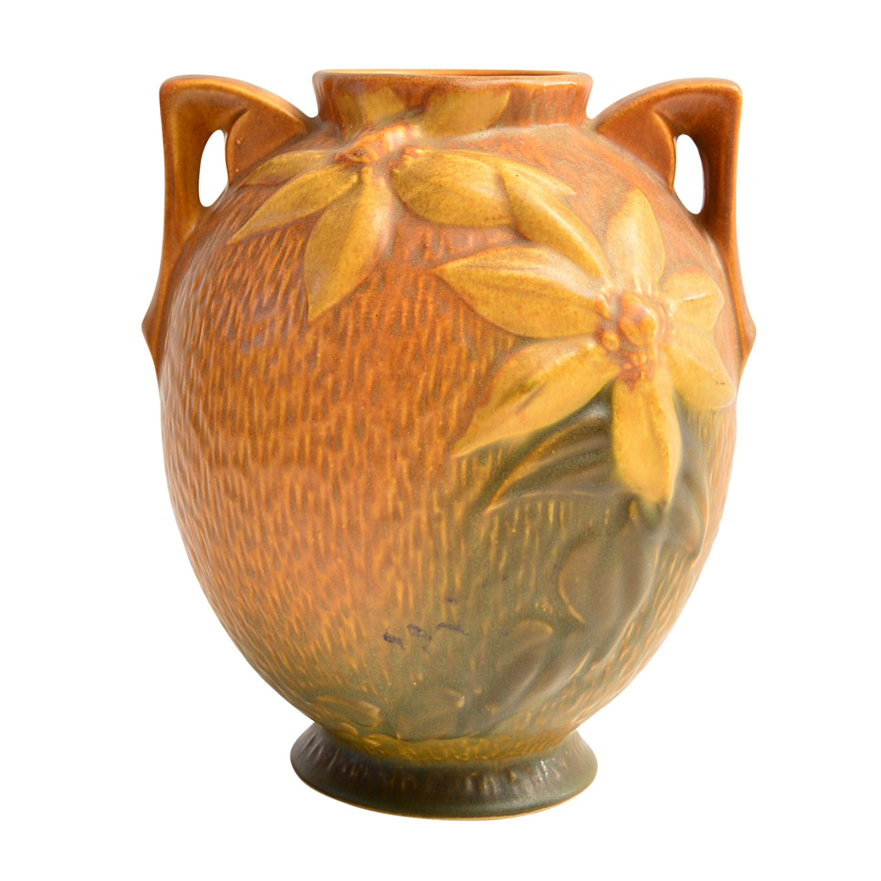 "Roseville ""Clematis"" Autumn Brown Vase, circa 1944"