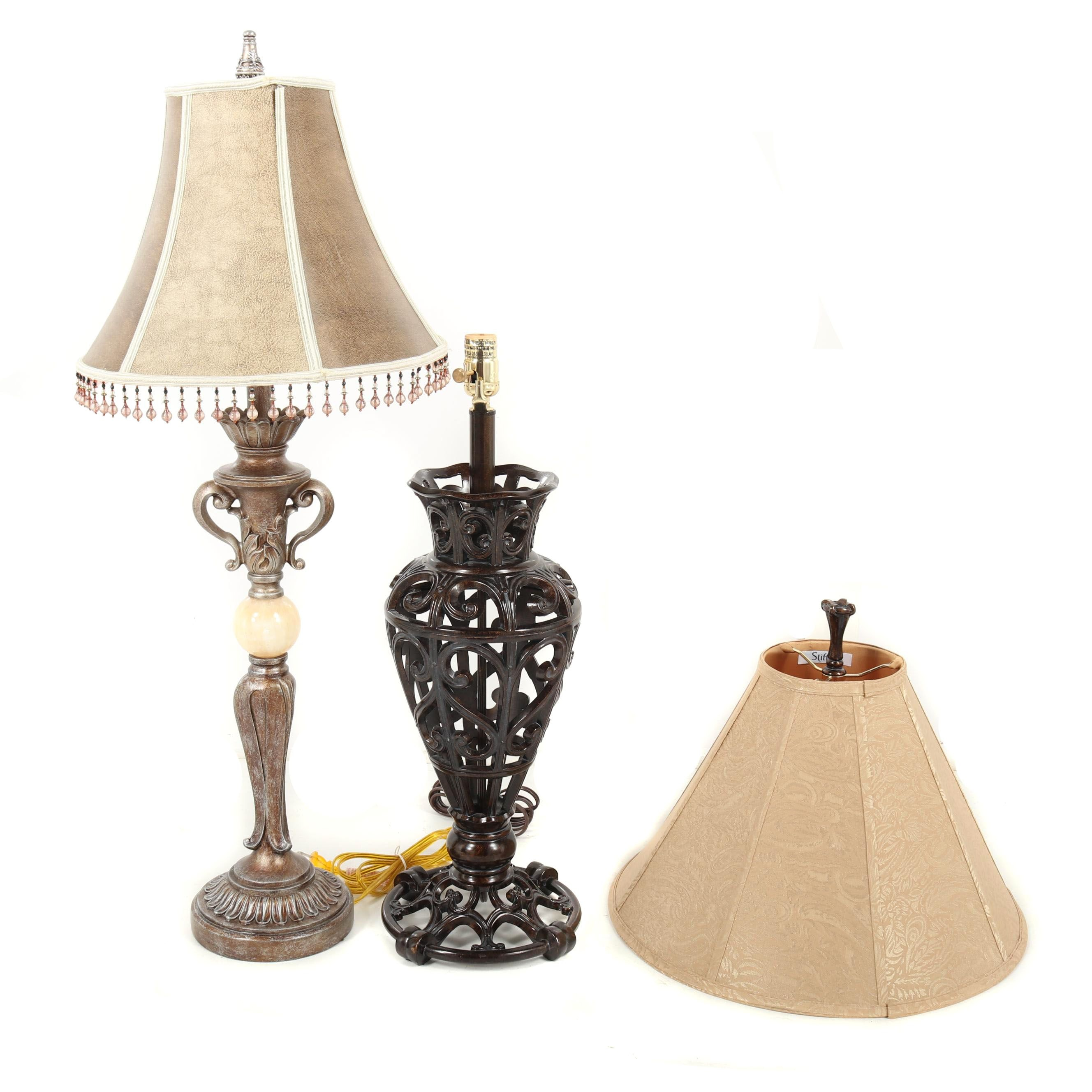 Contemporary Metal, Stone and Resin Table Lamps with Stiffel Shade