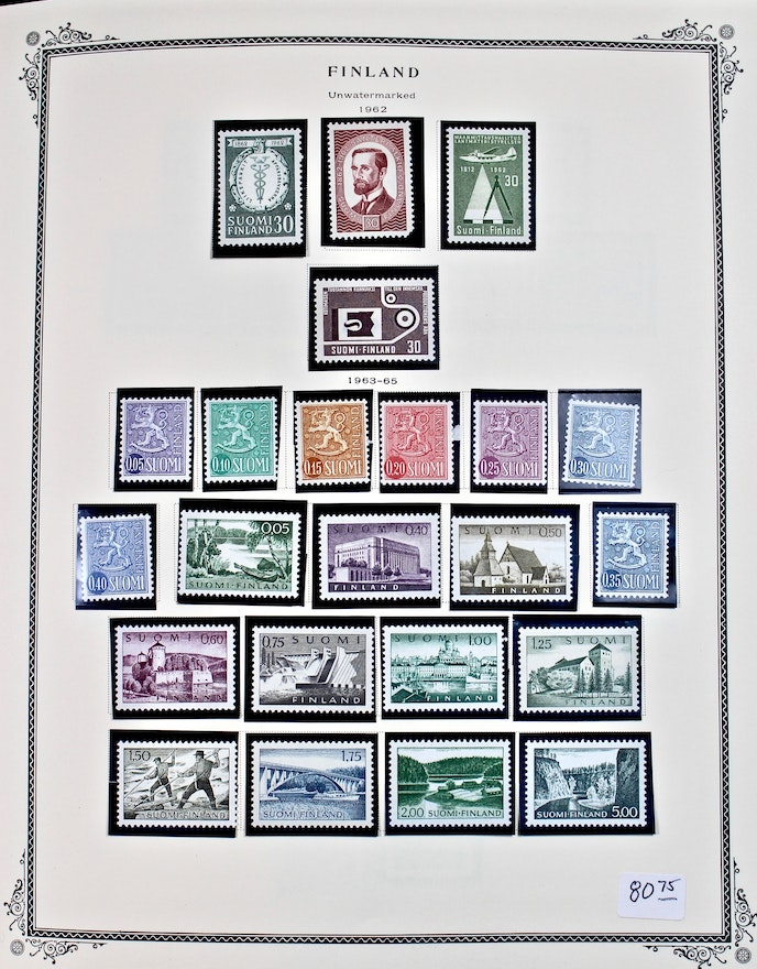 Collection Of Finland Postage Stamps In A Scott Stamp Album Ebth