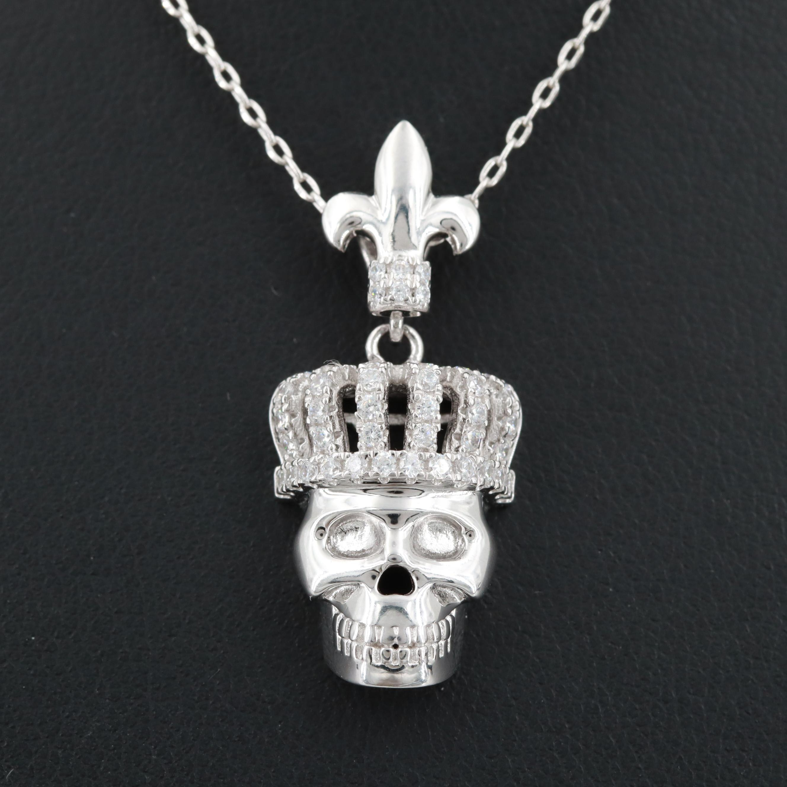 Bianci Sterling Silver Cubic Zirconia Crowned Skeleton Pendant Necklace
