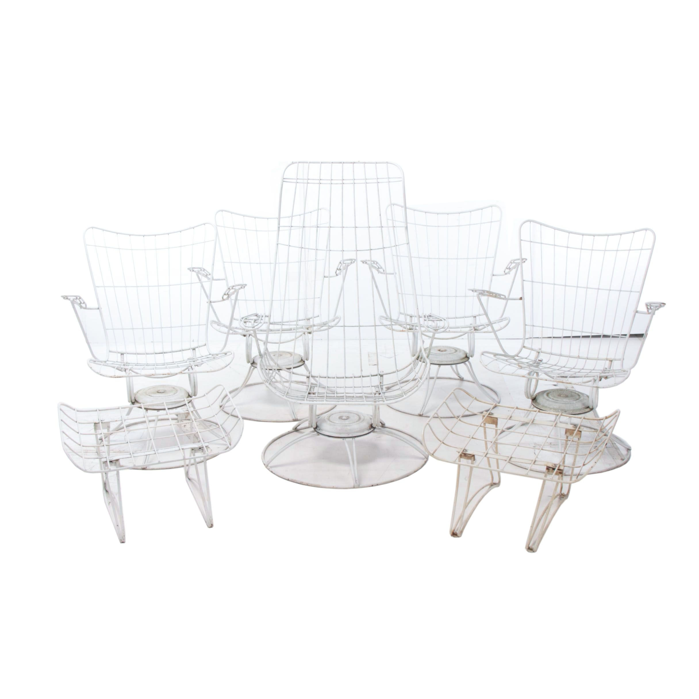 Mid Century Modern Painted Wire and Steel Rod Seven-Piece Patio Seating Set
