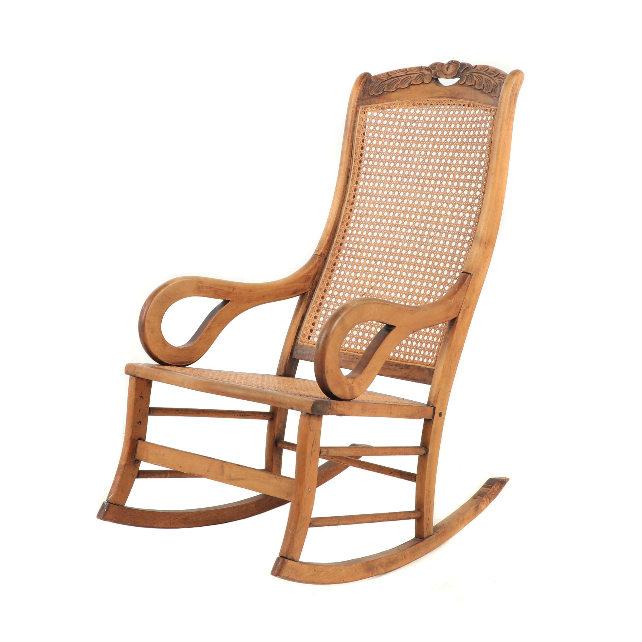 Cane Back Wooden Rocking Chair