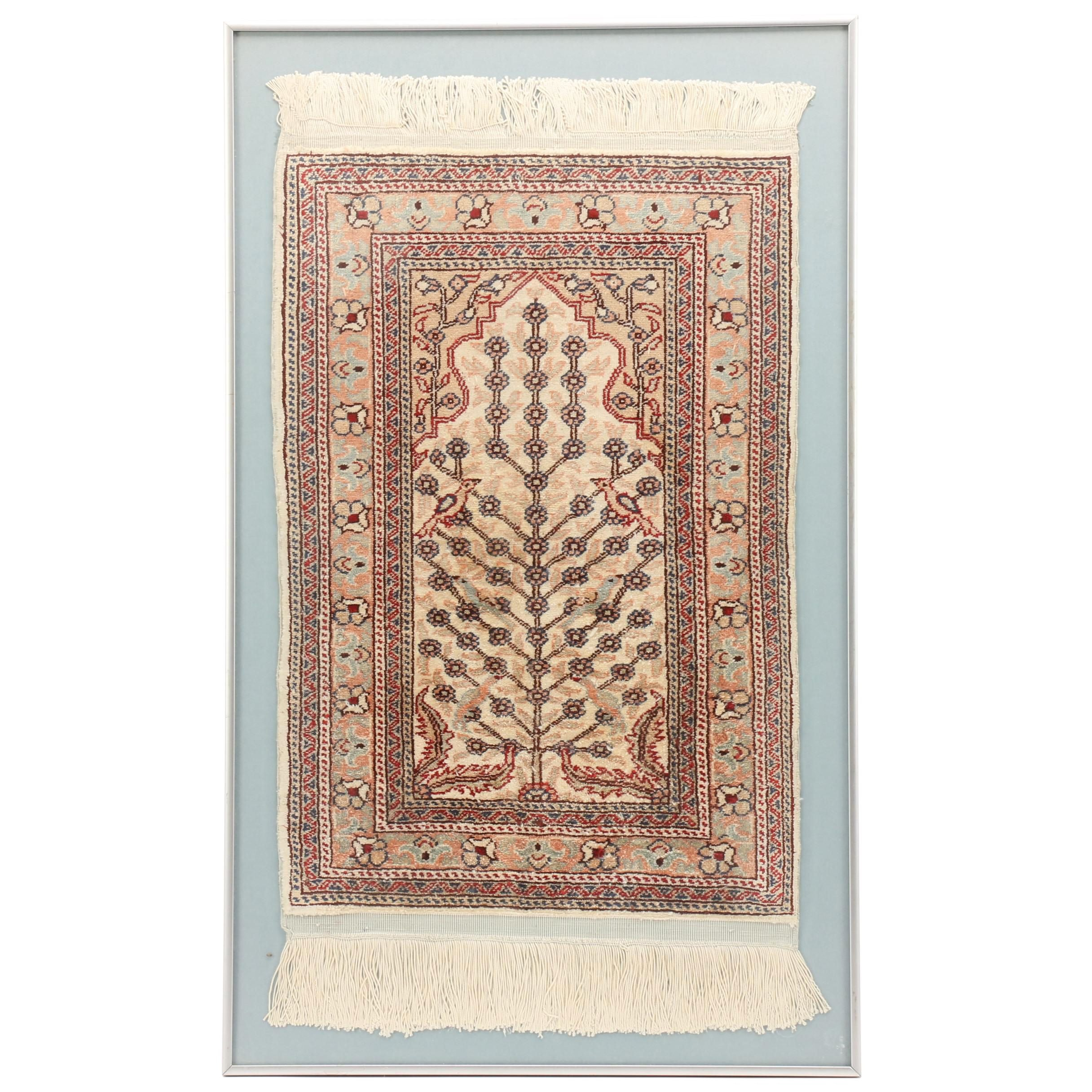 "Framed Hand-Knotted Silk ""Tree of Life"" Prayer Rug"