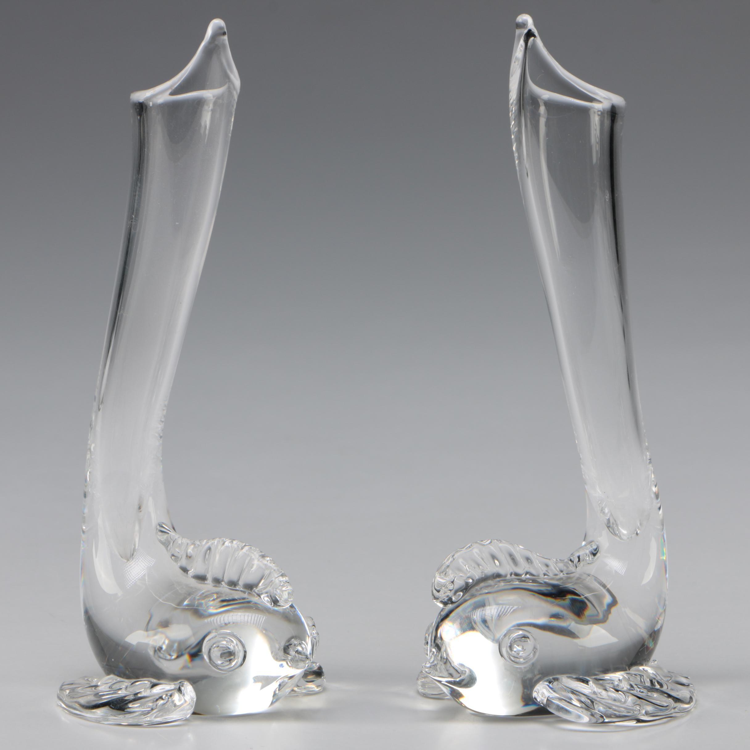 "Steuben Art Glass ""Dolphin"" Bud Vases by John Montieth Gates, Mid-Century"
