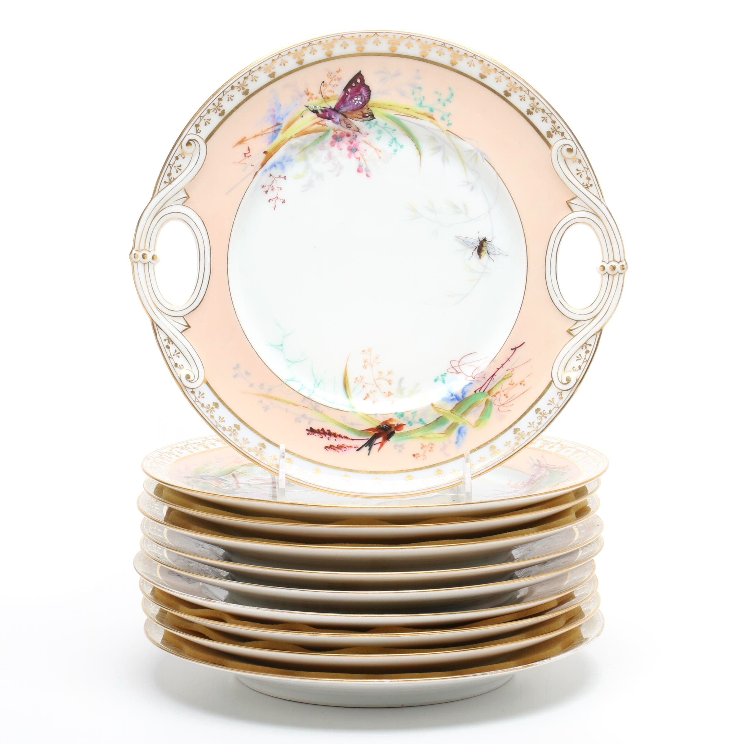 Haviland French Porcelain Dessert Plate Set, Mid to Late 19th Century