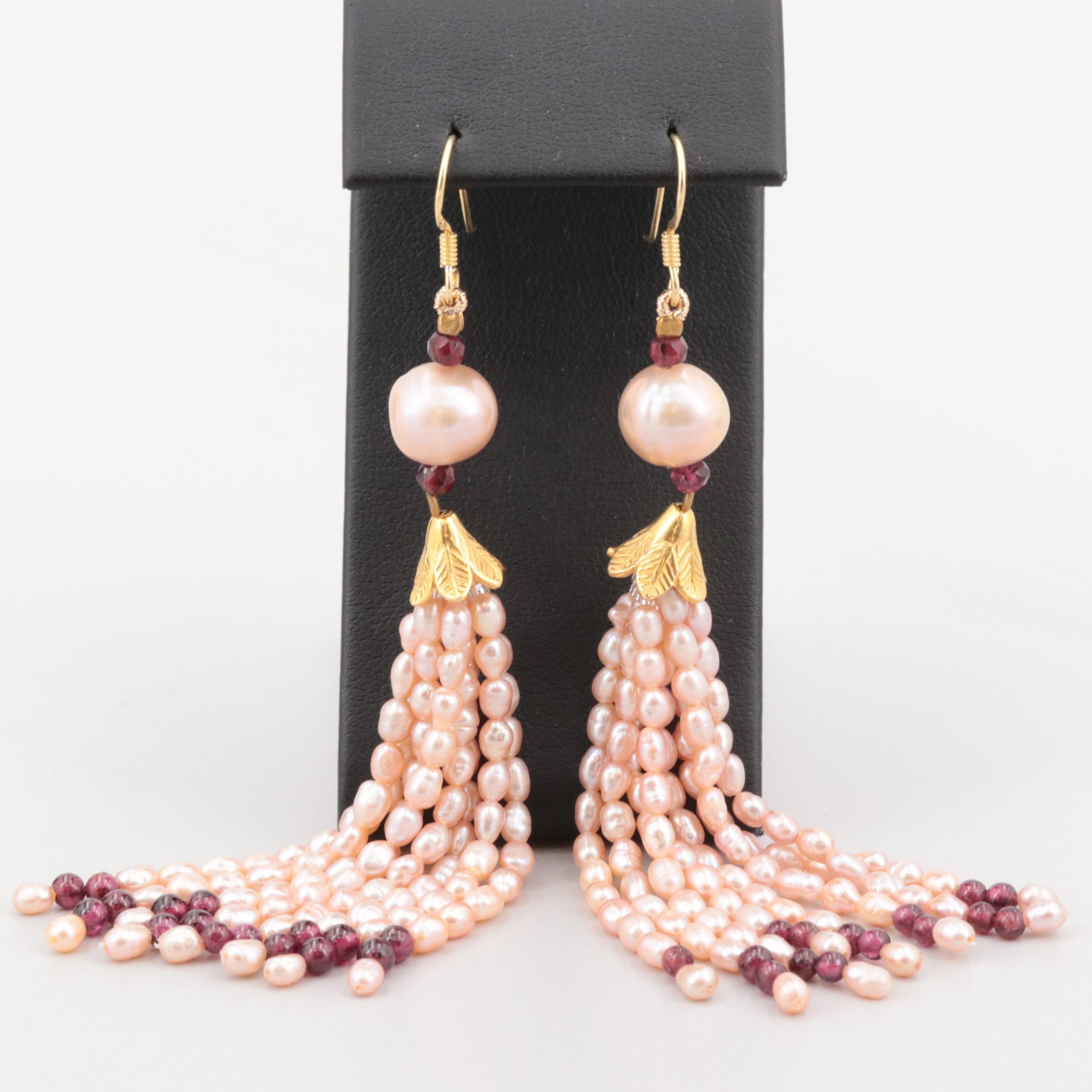 Gold Wash on Sterling Silver Cultured Pearl and Garnet Tassel Dangle Earrings