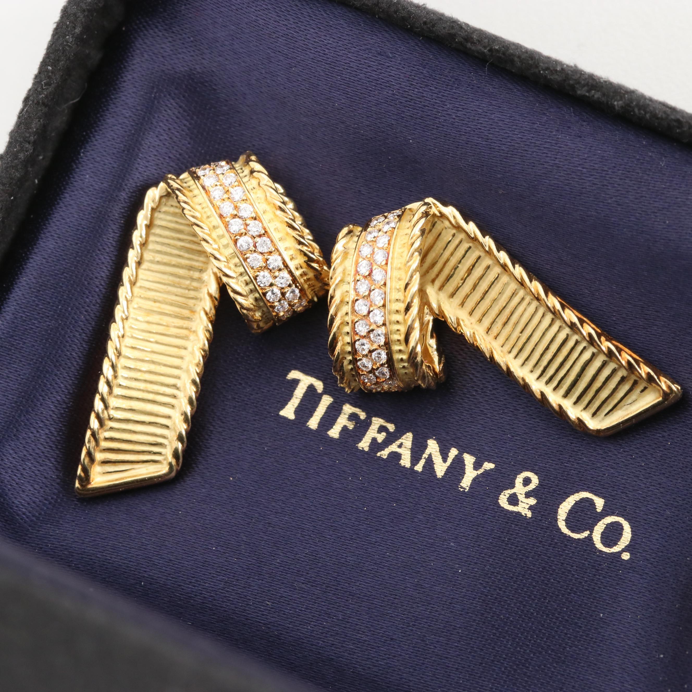 Tiffany & Co. 18K Yellow Gold Diamond Ribbon Earrings